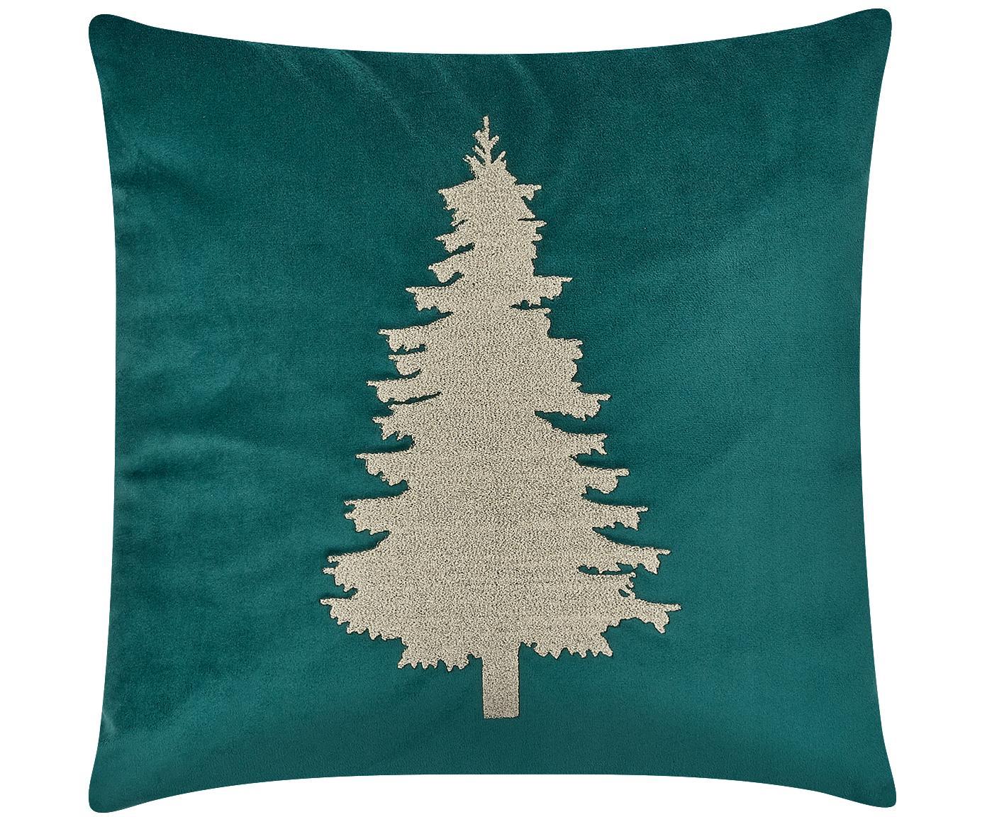 Poszewka na poduszkę z aksamitu Tree, Zielony, S 40 x D 40 cm