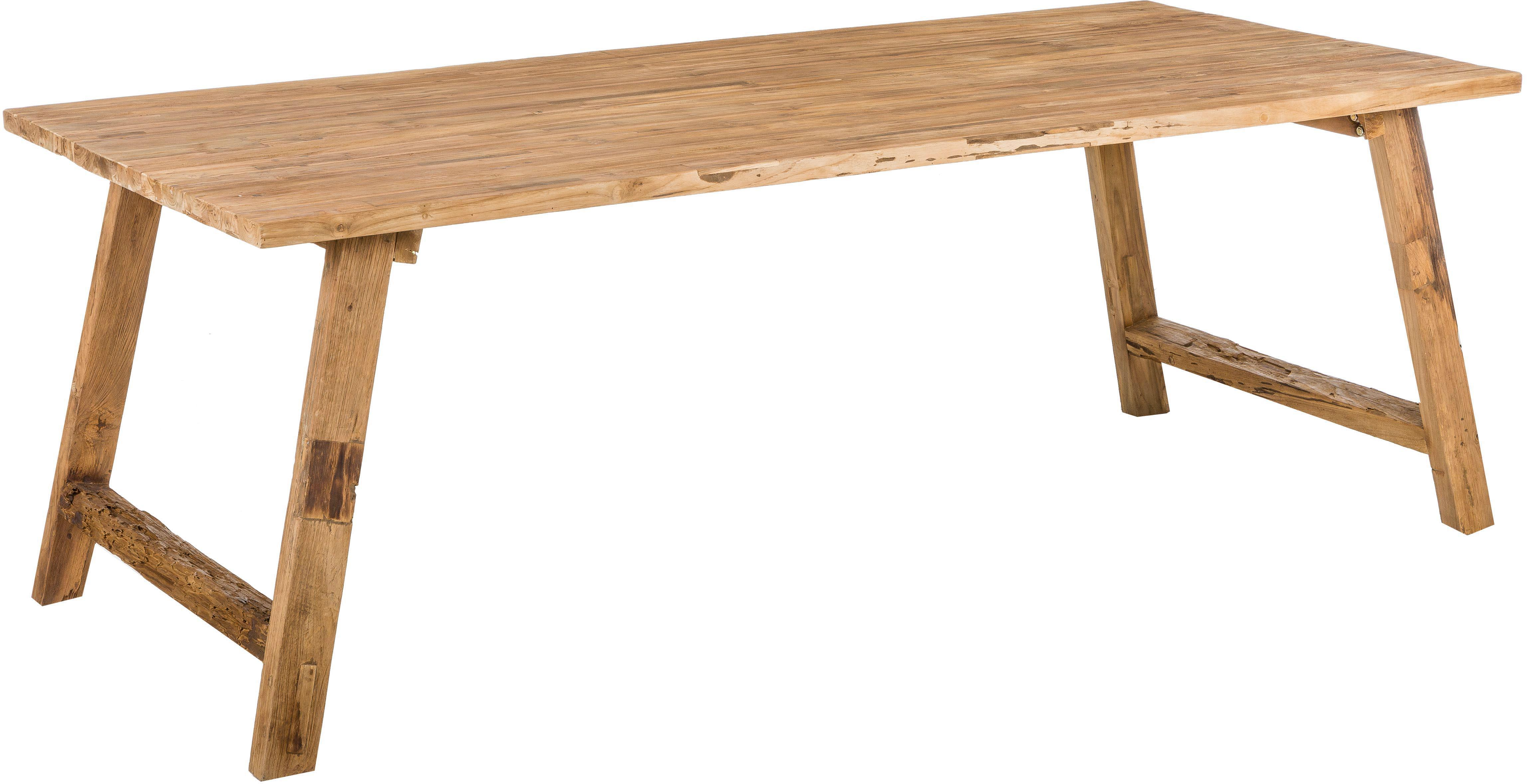 Mesa de comedor de madera maciza Lawas, Madera de teca natural, Teca, An 220 x F 100 cm