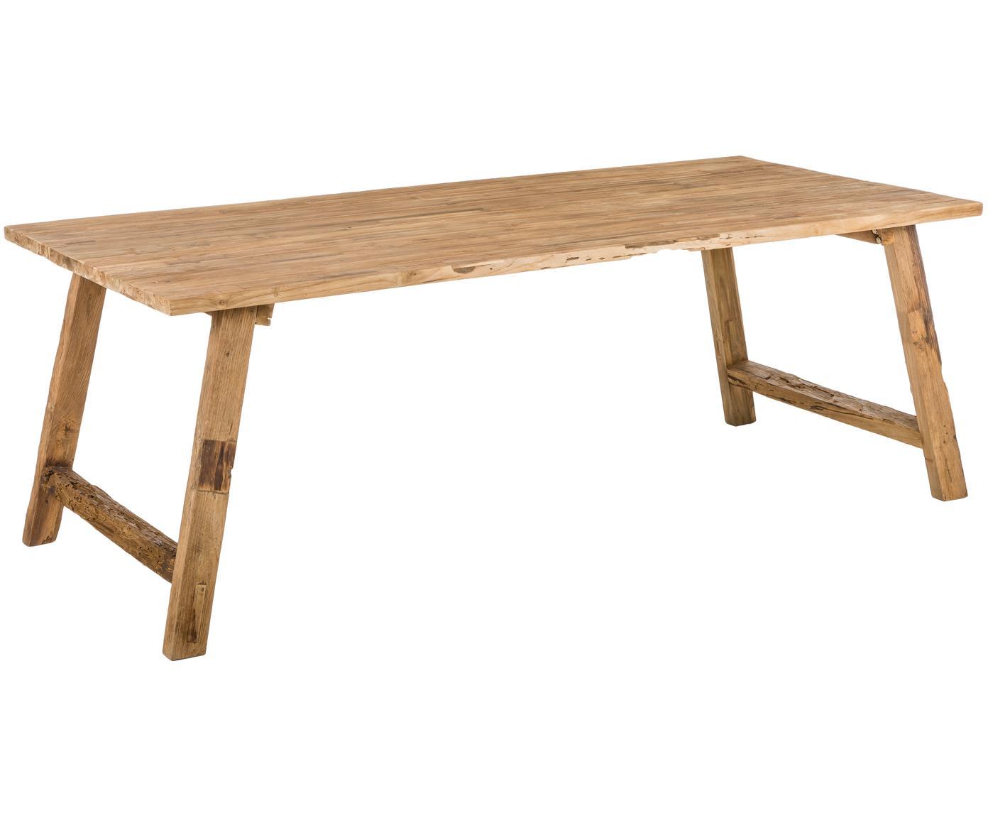 Stół do jadalni z litego drewna tekowego Lawas, Naturalne drewno tekowe, Drewno tekowe, S 220 x G 100 cm