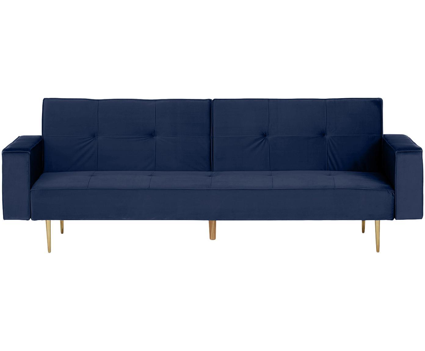 Sofa rozkładana z aksamitu Bridgit (3-osobowa), Tapicerka: aksamit (poliester) 28 00, Stelaż: drewno sosnowe, Nogi: drewno kauczukowe, Tapicerka: niebieski Nogi: odcienie złotego, błyszczący, S 232 x W 81 cm