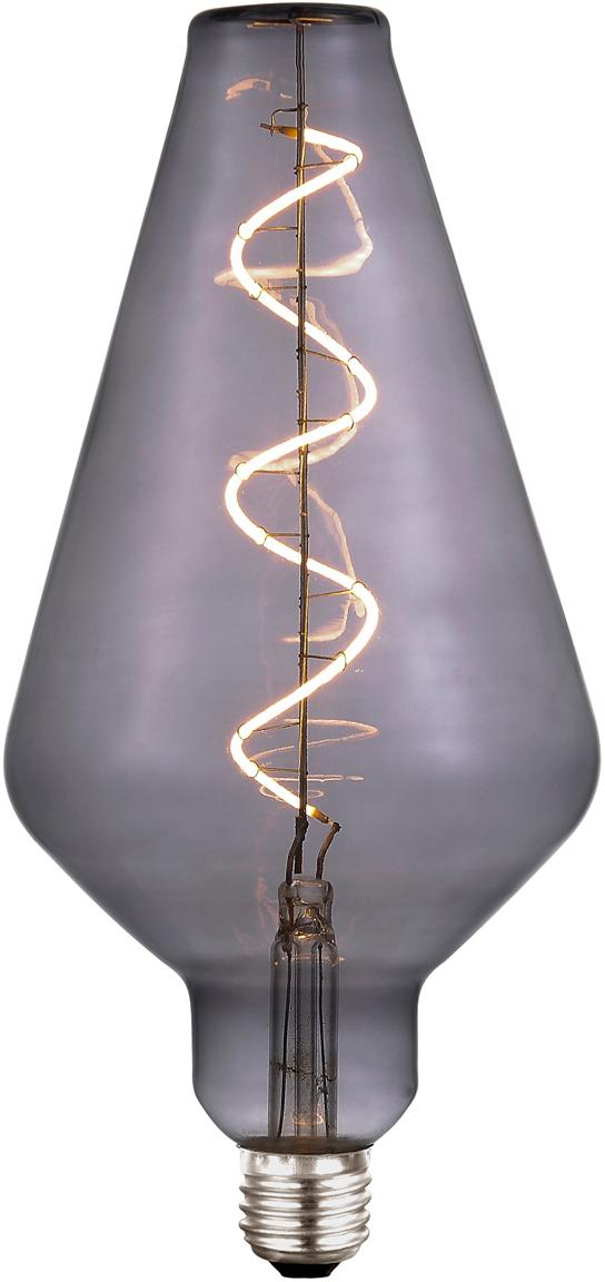 Grosses LED Leuchtmittel Colors Cone (E27/4W), dimmbar, Glas, Metall, beschichtet, Grau, transparent, Ø 13 x H 23 cm