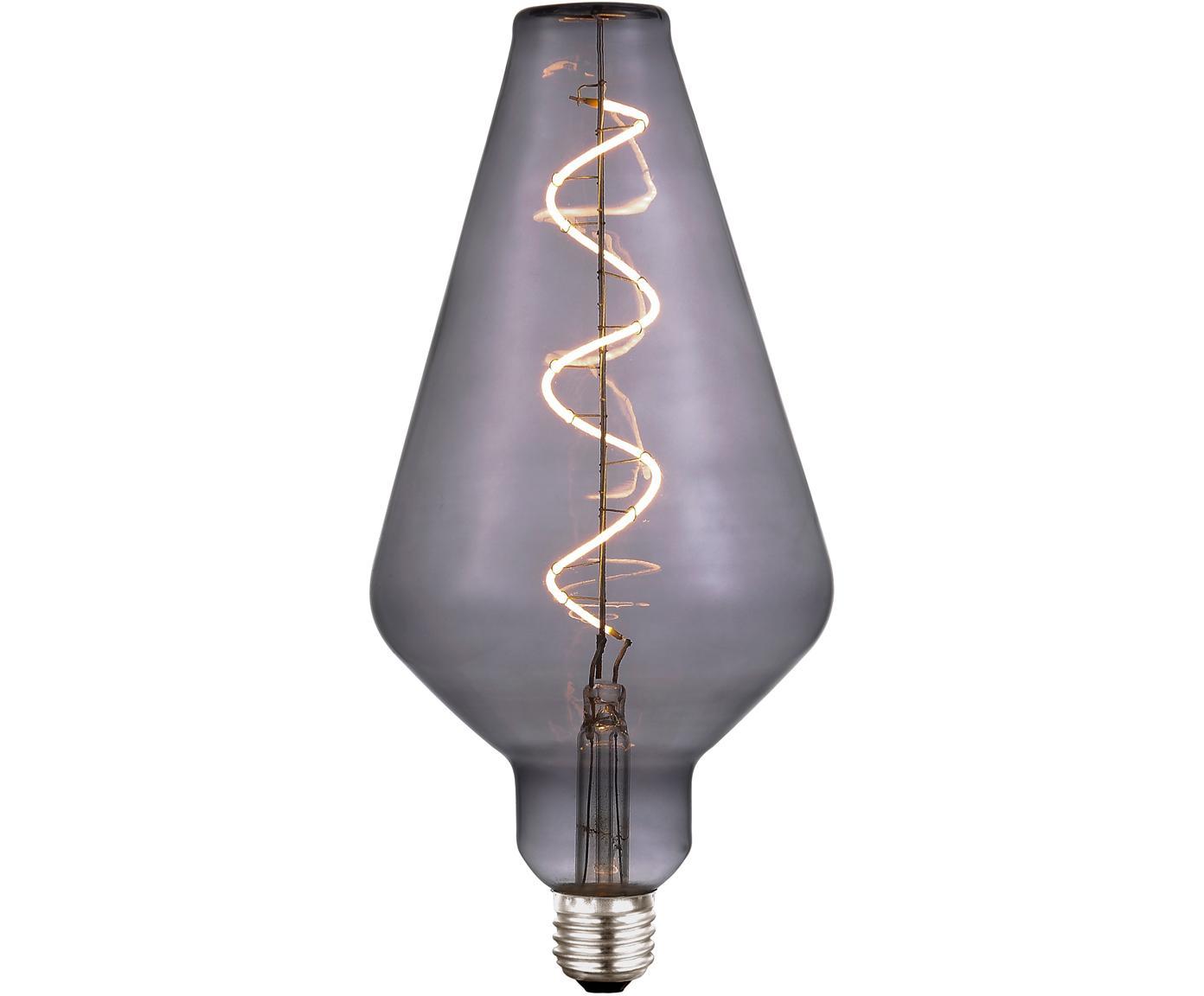 Grote LED lamp Colors Cone (E27 / 4W), dimbaar, Glas, gecoat metaal, Grijs, transparant, Ø 13 x H 23 cm