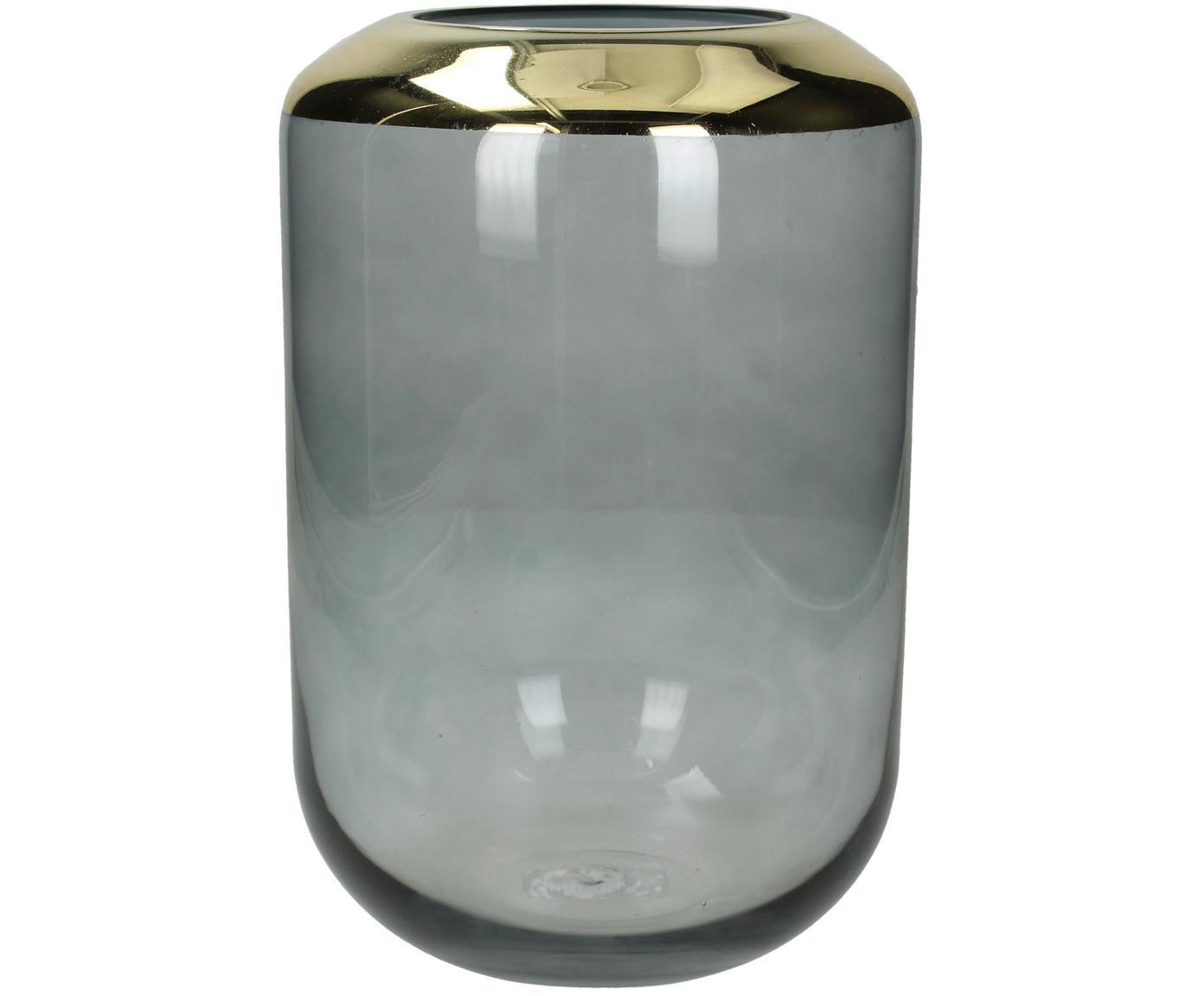 Glas-Vase Janak, Glas, Grau, transparent, Goldfarben, Ø 16 x H 25 cm