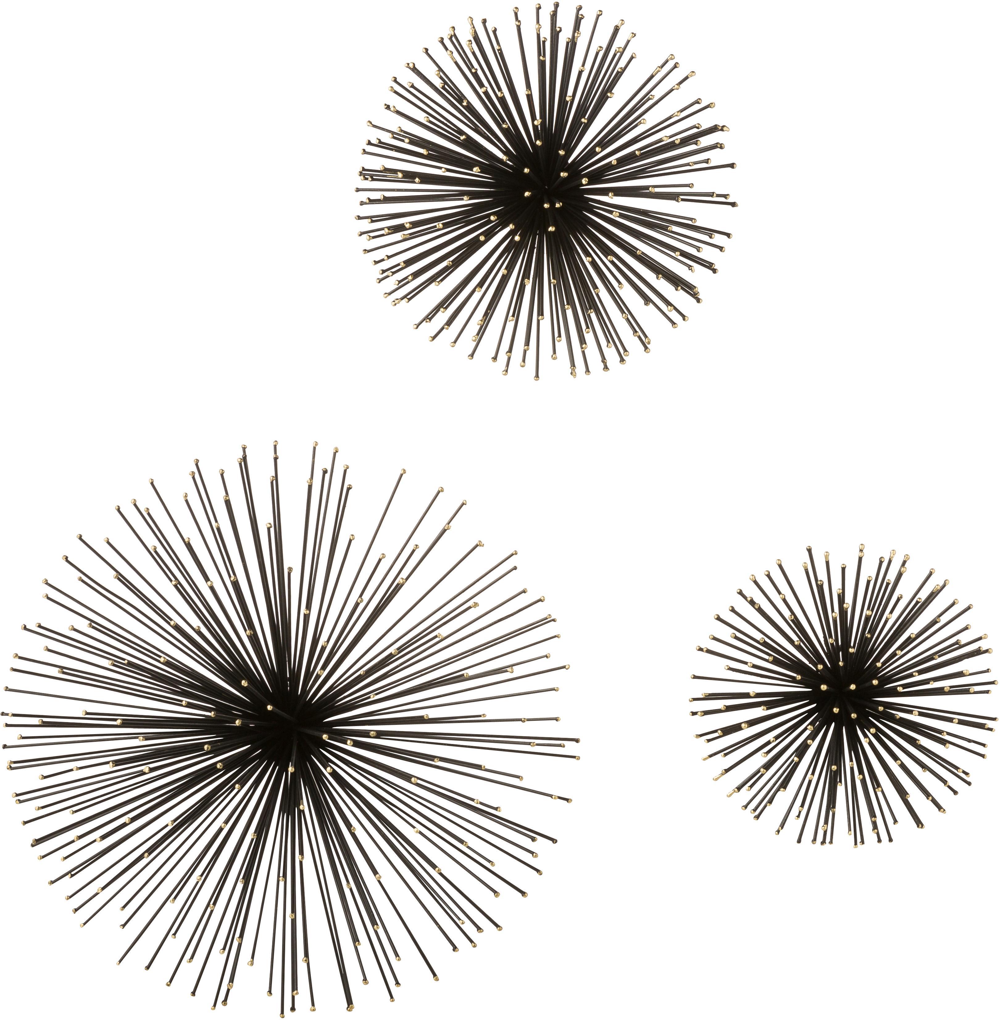 Wandobjekt-Set Ray aus Metall, 3-tlg., Metall, Schwarz, Verschiedene Grössen