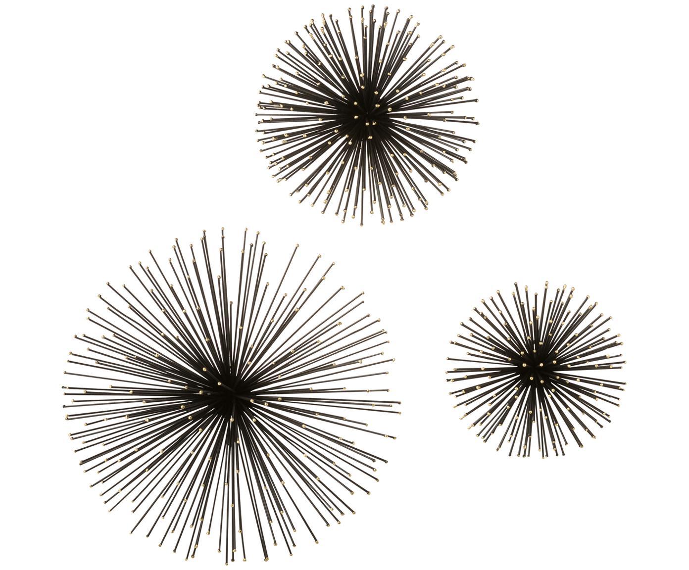 Wandobjectenset Spike, 3-delig, Metaal, Zwart, Verschillende formaten