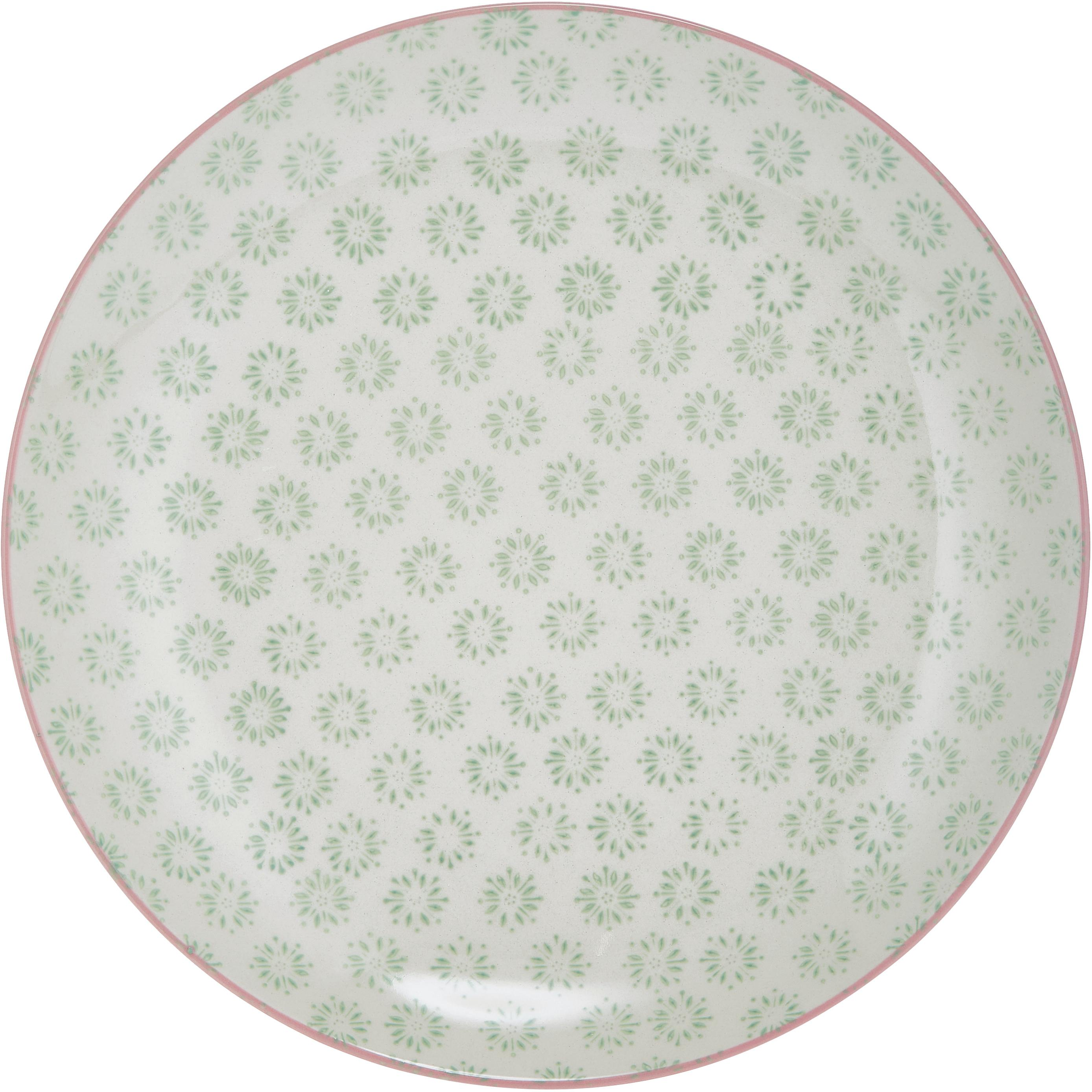 Ensemble d'assiettes plates Patrizia, 3élém., Blanc, vert, rouge, bleu