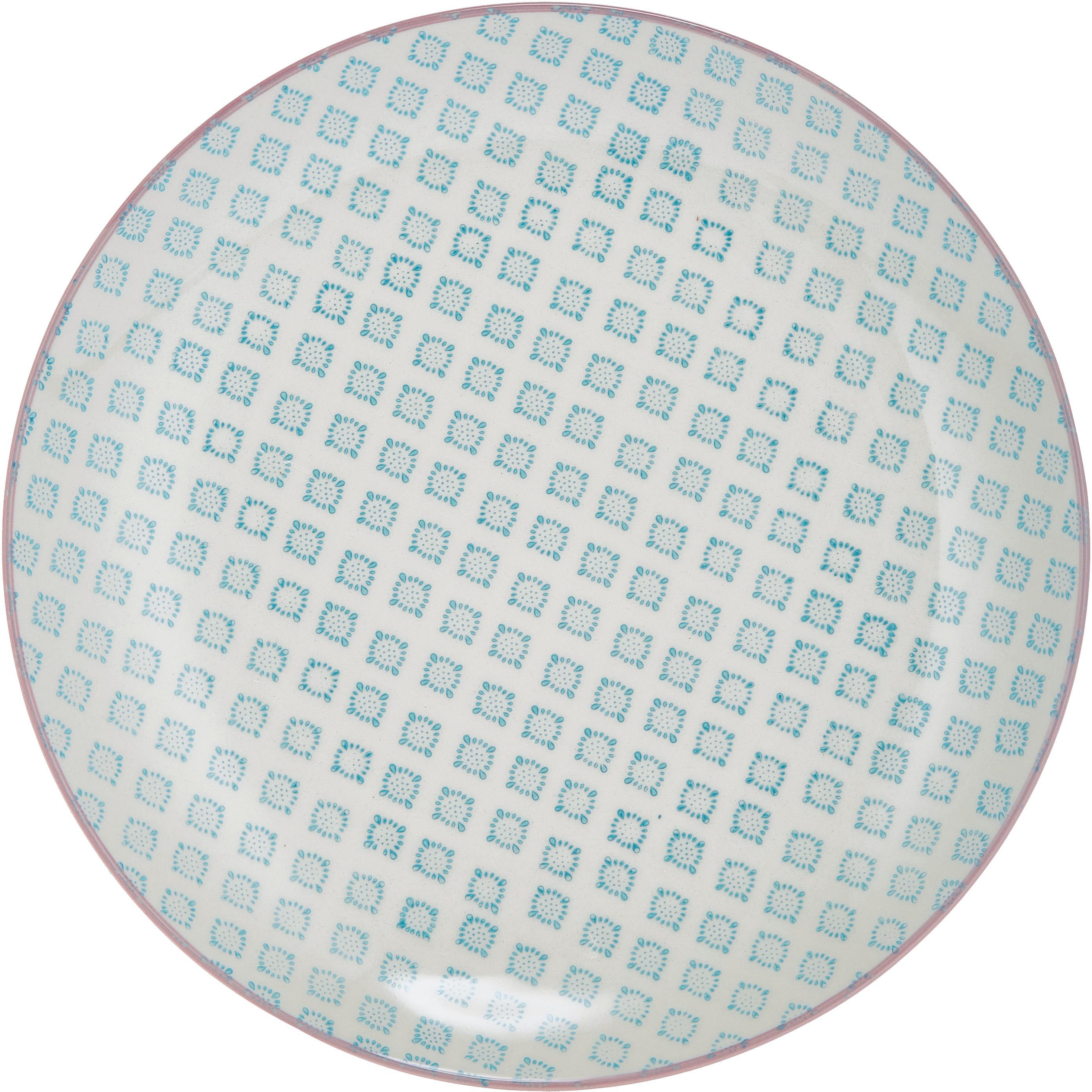 Handbemalte Speiseteller Patrizia mit kleinem Muster, 3er-Set, Steingut, Weiß, Grün, Rot, Blau, Ø 25 cm
