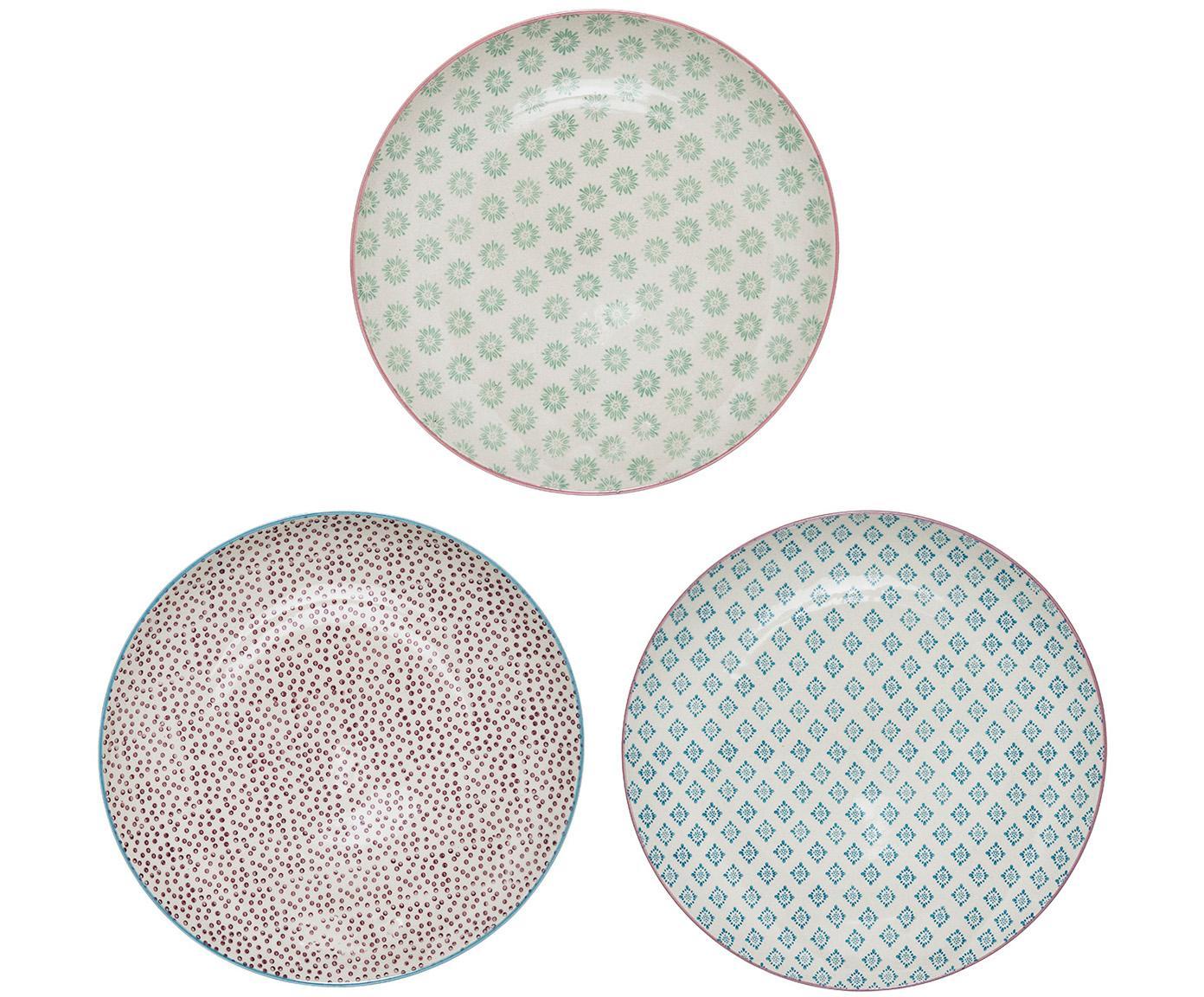 Speiseteller Patrizia mit kleinem Muster, 3er-Set, Steingut, Weiss, Grün, Rot, Blau, Ø 25 cm