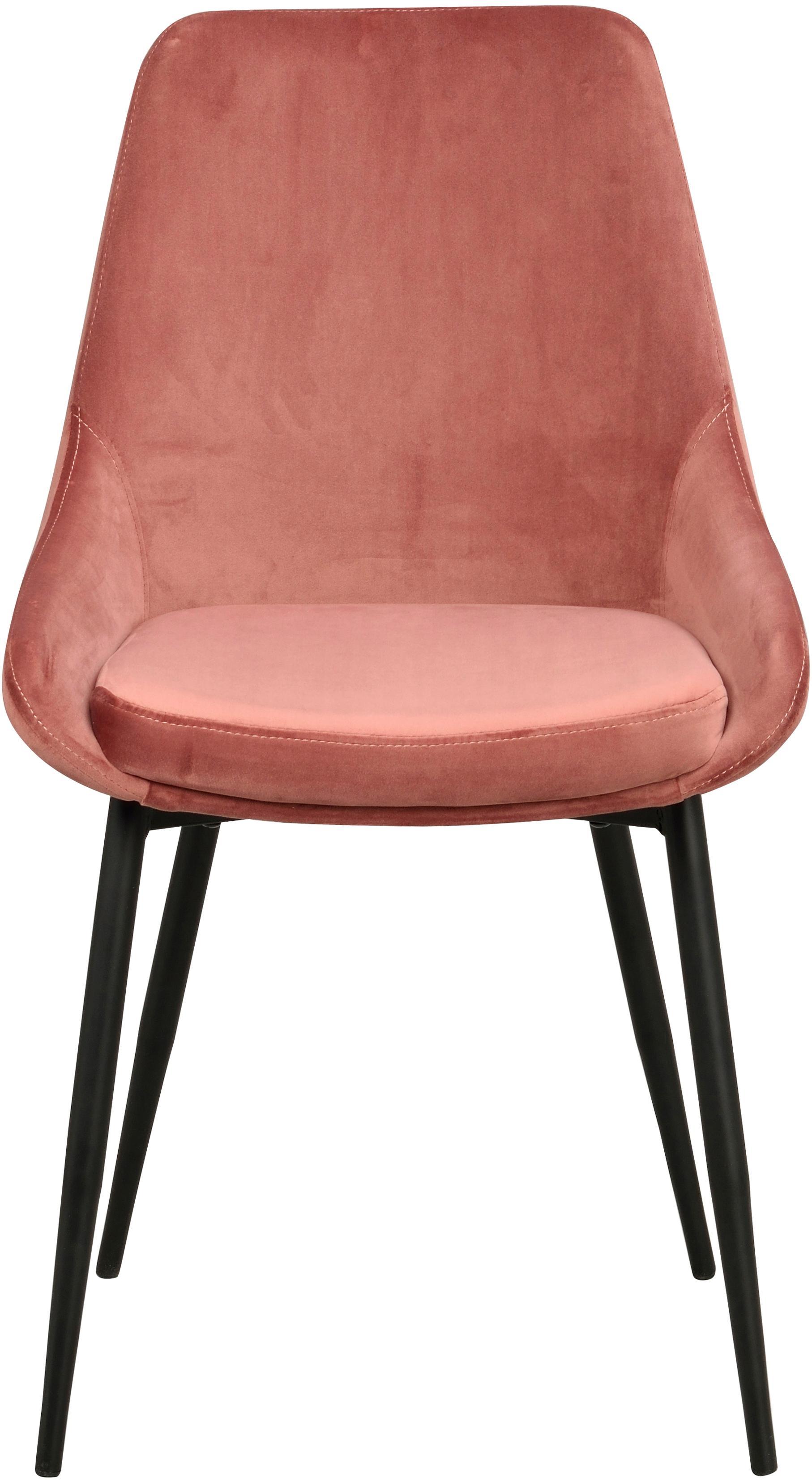 Fluwelen stoelen Sierra, 2 stuks, Bekleding: polyester fluweel, Poten: gelakt metaal, Roze, zwart, B 49 x D 55 cm
