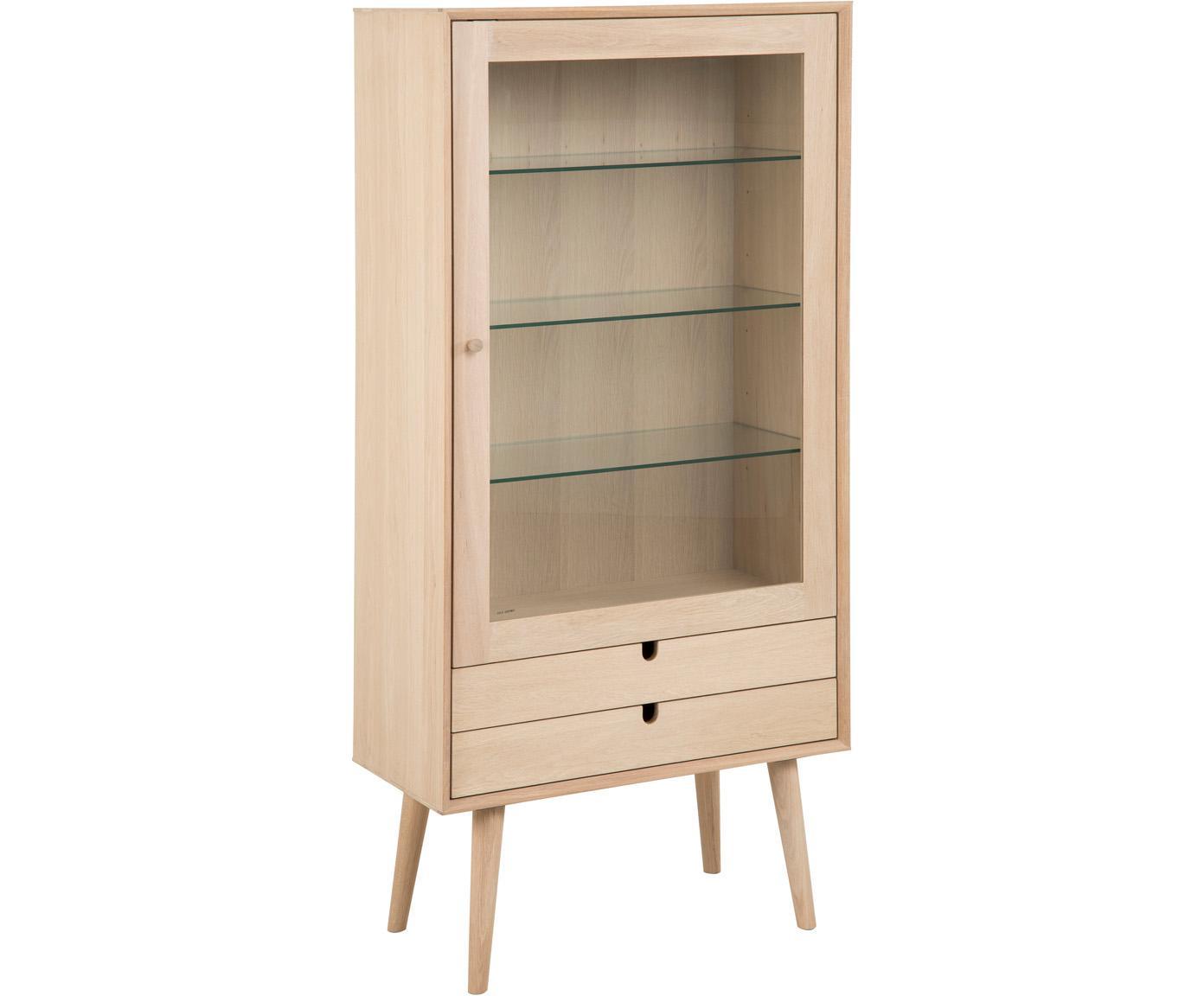 Eichenholz-Vitrine Century im Skandi Design, Beine: Eichenholz, weiß pigmenti, Eichenholz, Transparent, 72 x 143 cm