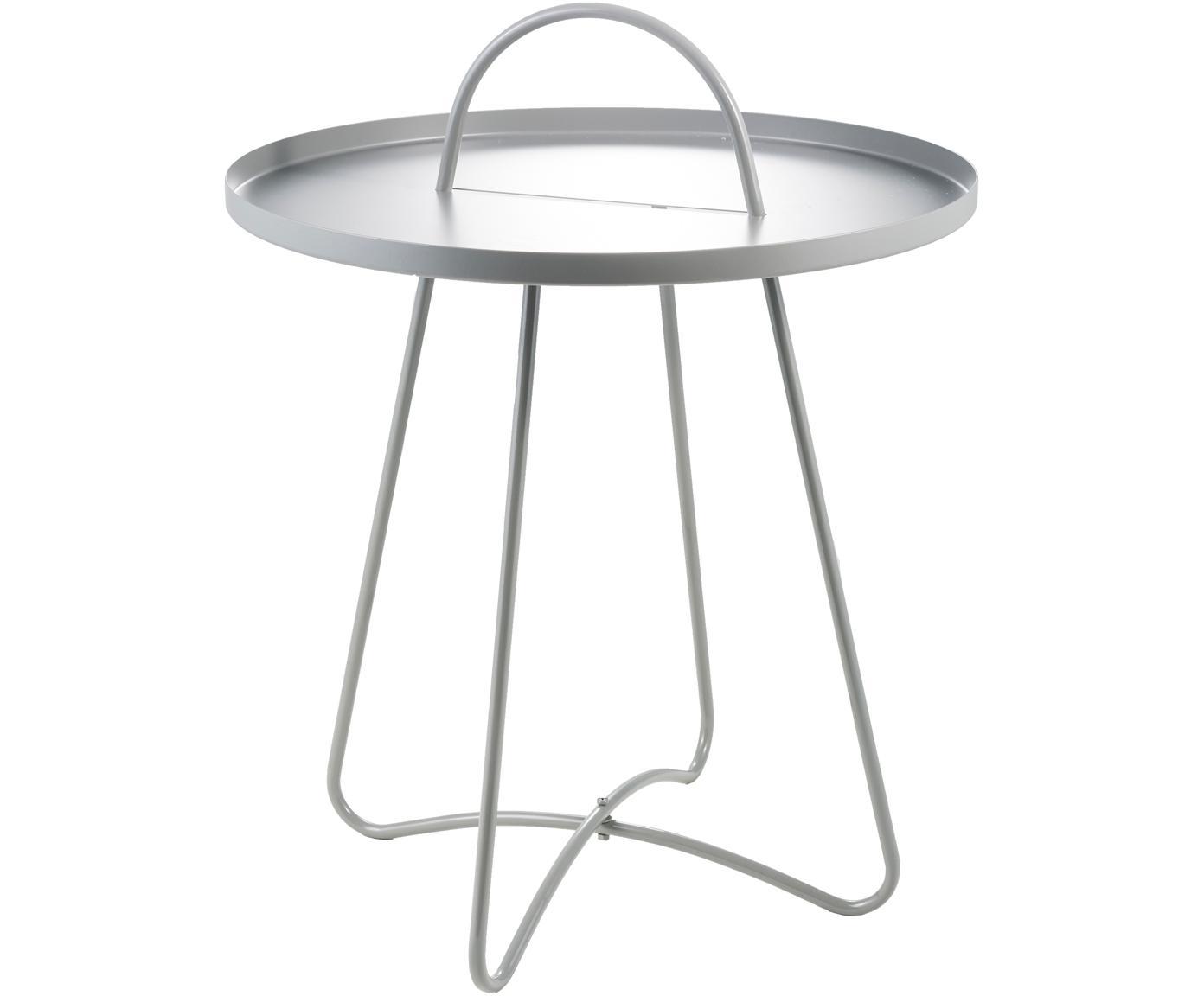 Tavolino rotondo in metallo Pronto, Metallo rivestito, Grigio chiaro, Ø 46 x Alt. 58 cm