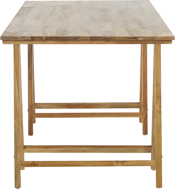 Massief houten tafel Trestle in scandi design, Natuurlijk teakhout, Teakhoutkleurig, B 180 x D 80 cm