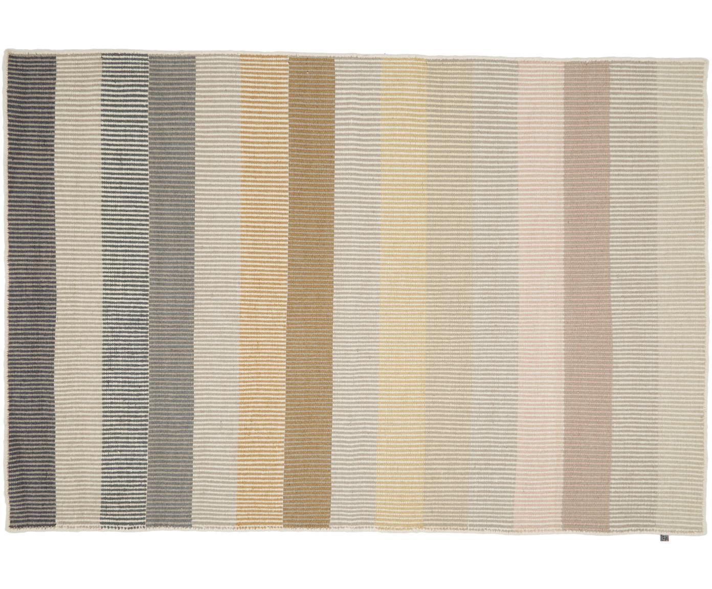 Handgeweven gestreept wollen vloerkleed Devise, Multicolour, B 140 x L 200 cm (maat S)