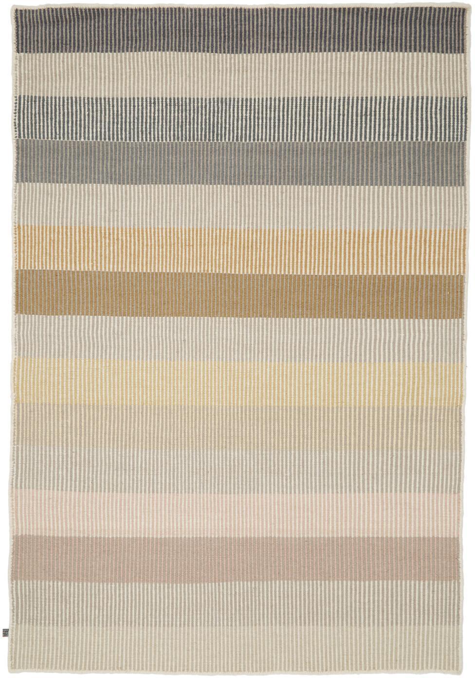 Gestreifter Kelimteppich Devise aus Wolle, handgewebt, Mehrfarbig, B 140 x L 200 cm (Größe S)