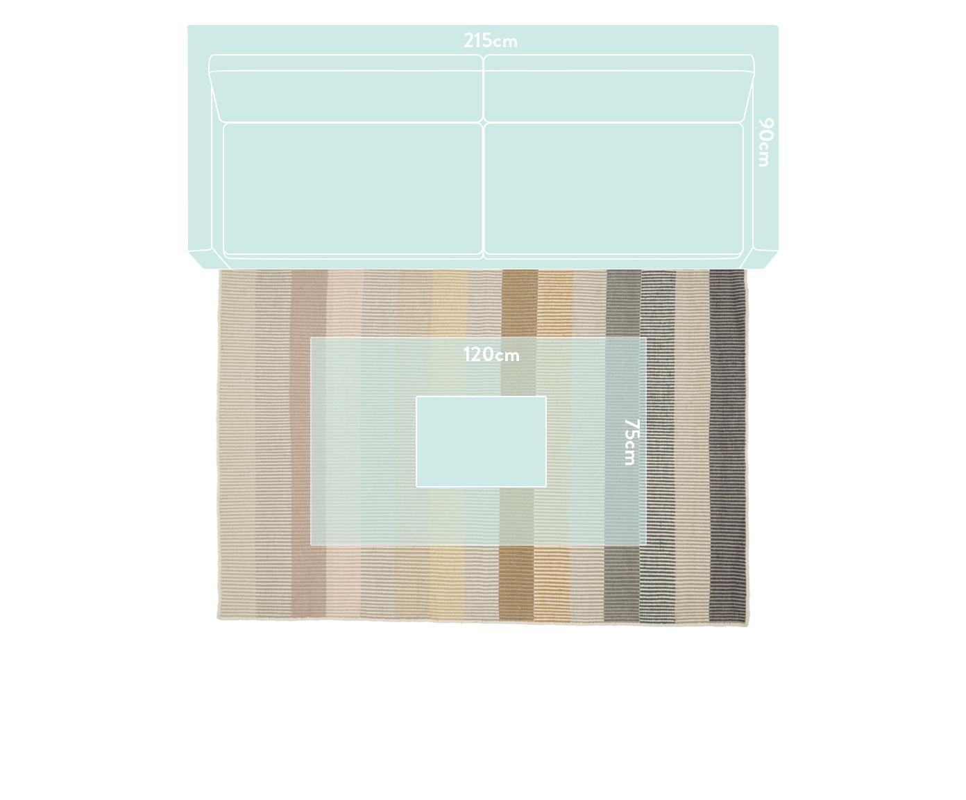 Gestreifter Kelimteppich Devise aus Wolle, handgewebt, Mehrfarbig, B 140 x L 200 cm (Grösse S)