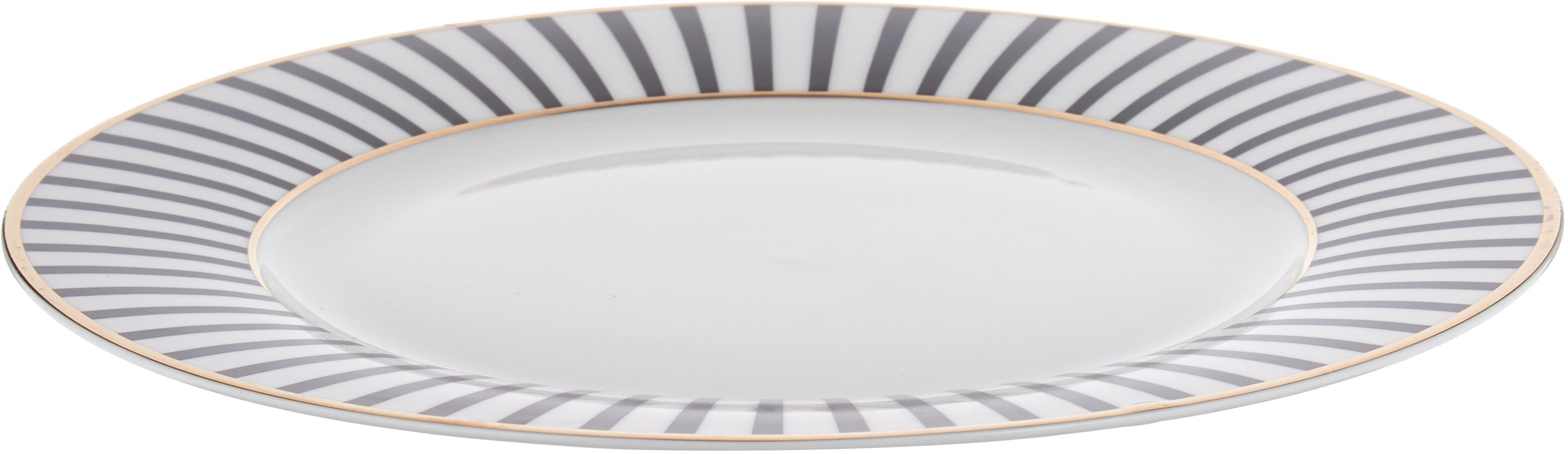 Speiseteller Pluto Loft mit Streifendekor und Goldrand, 4 Stück, Porzellan, Schwarz, Weiß, Goldfarben, Ø 26 x H 2 cm