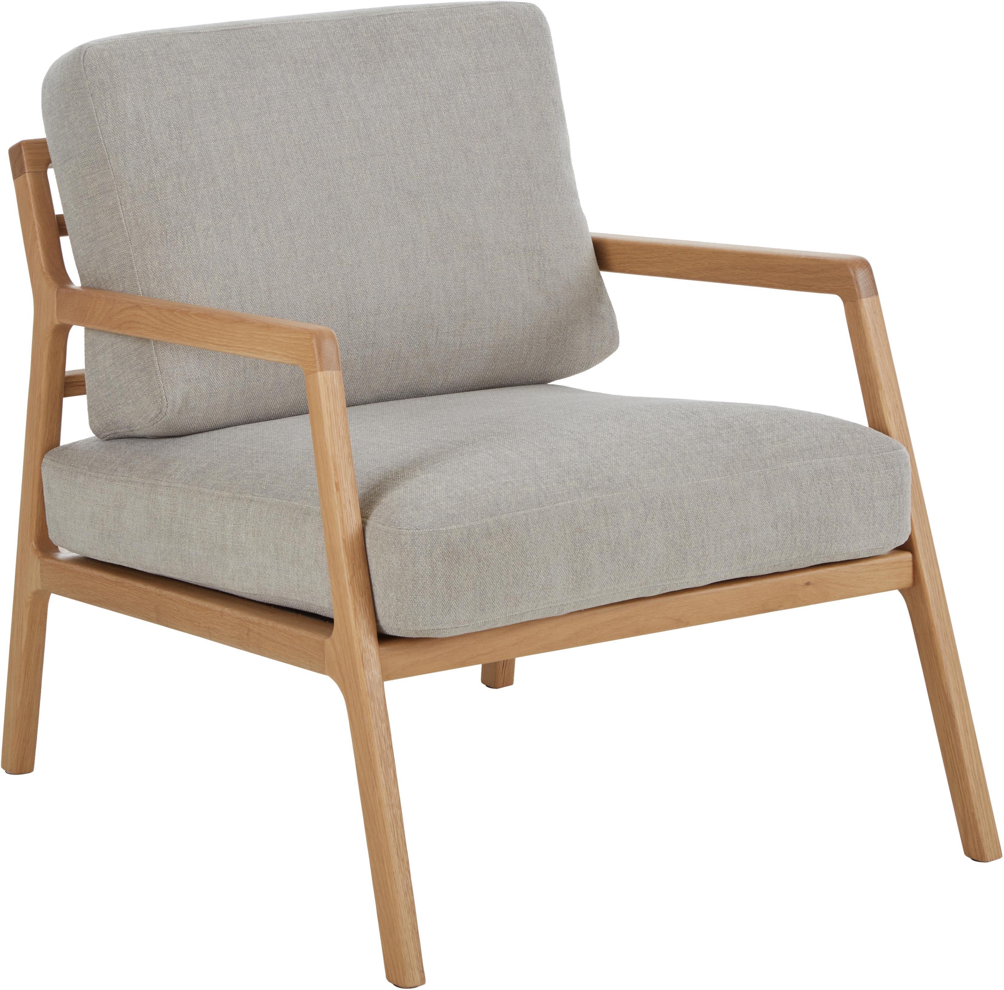 Sessel Becky mit Armlehnen aus Eichenholz, Bezug: Polyester 35.000 Scheuert, Gestell: Massives Eichenholz, Webstoff Grau, B 73 x T 90 cm