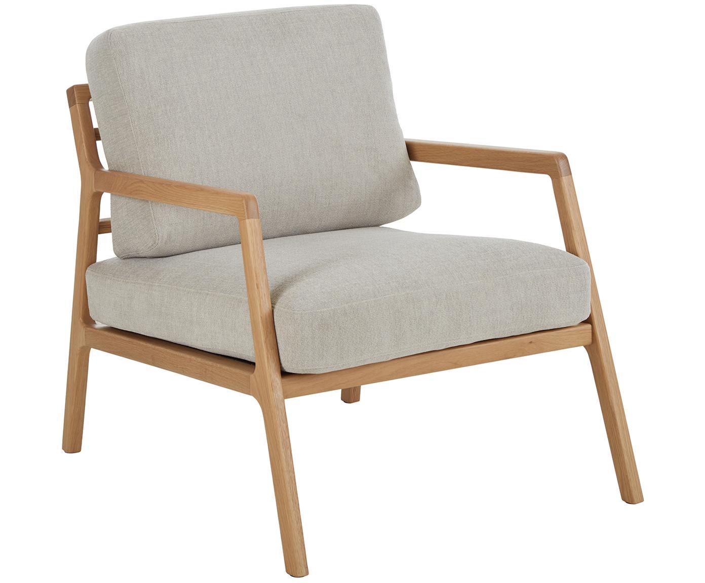 Sedia a poltrona con braccioli in legno di quercia Becky, Rivestimento: poliestere 35.000 cicli d, Struttura: legno massello di rovere, Tessuto grigio, Larg. 73 x Prof. 90 cm