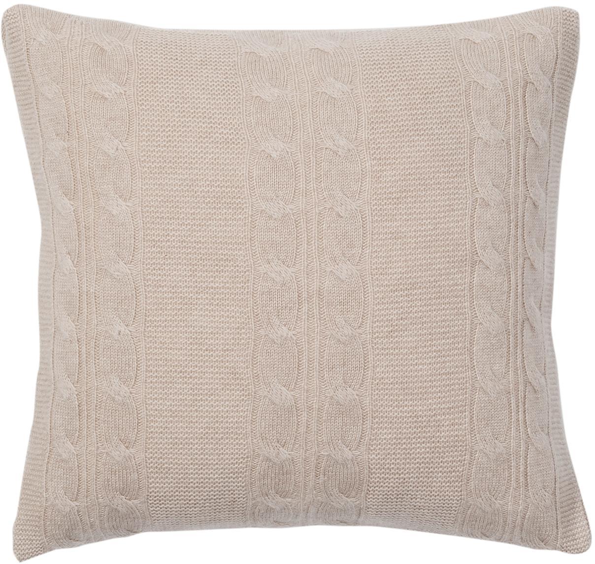 Reine Kaschmir-Kissenhülle Leonie mit Zopfmuster, 100% Kaschmir Kaschmir ist besonders weich, angenehm und wärmend, Taupe, 40 x 40 cm