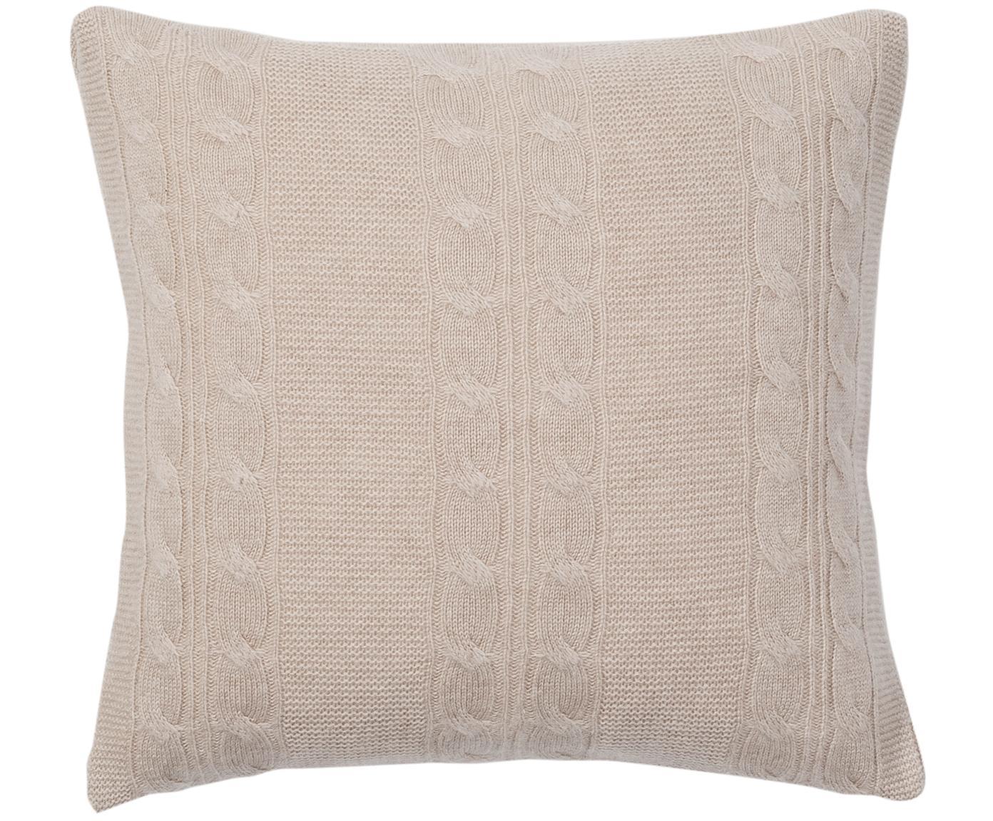 Funda de cojín de cachemira pura Leonie, 100%cachemira La cachemira es un tejido muy suave, cómodo y cálido, Gris pardo, An 40 x L 40 cm
