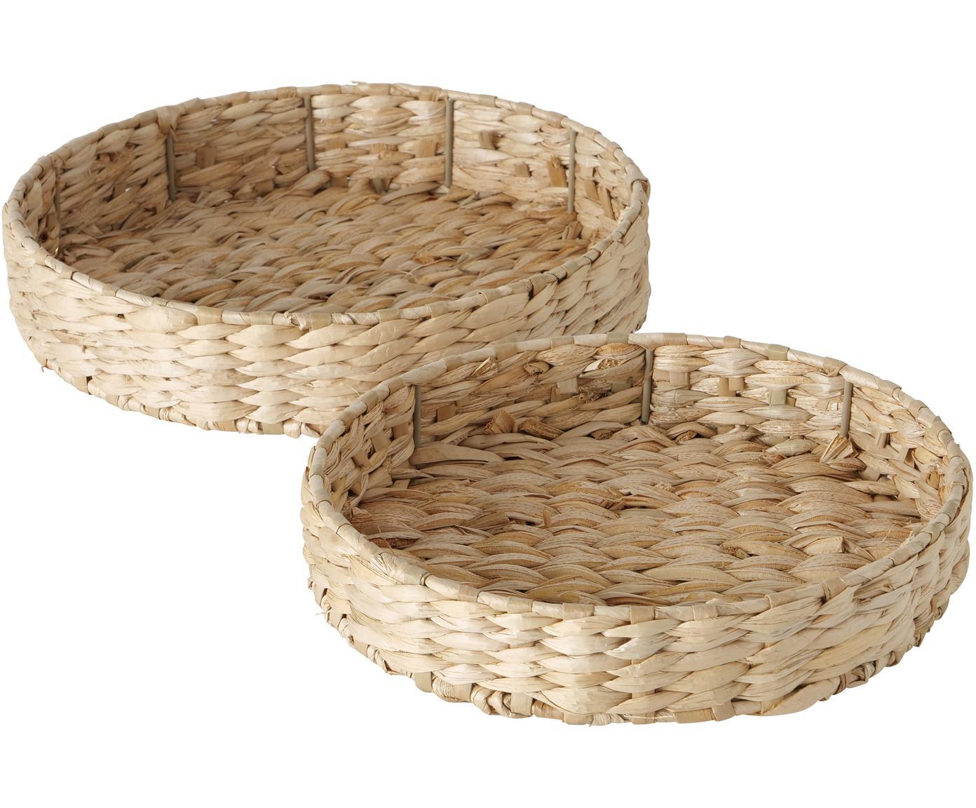 Set 2  vassoi decorativi in fibra naturale Paola, Paglia, metallo, Beige, Diverse dimensioni