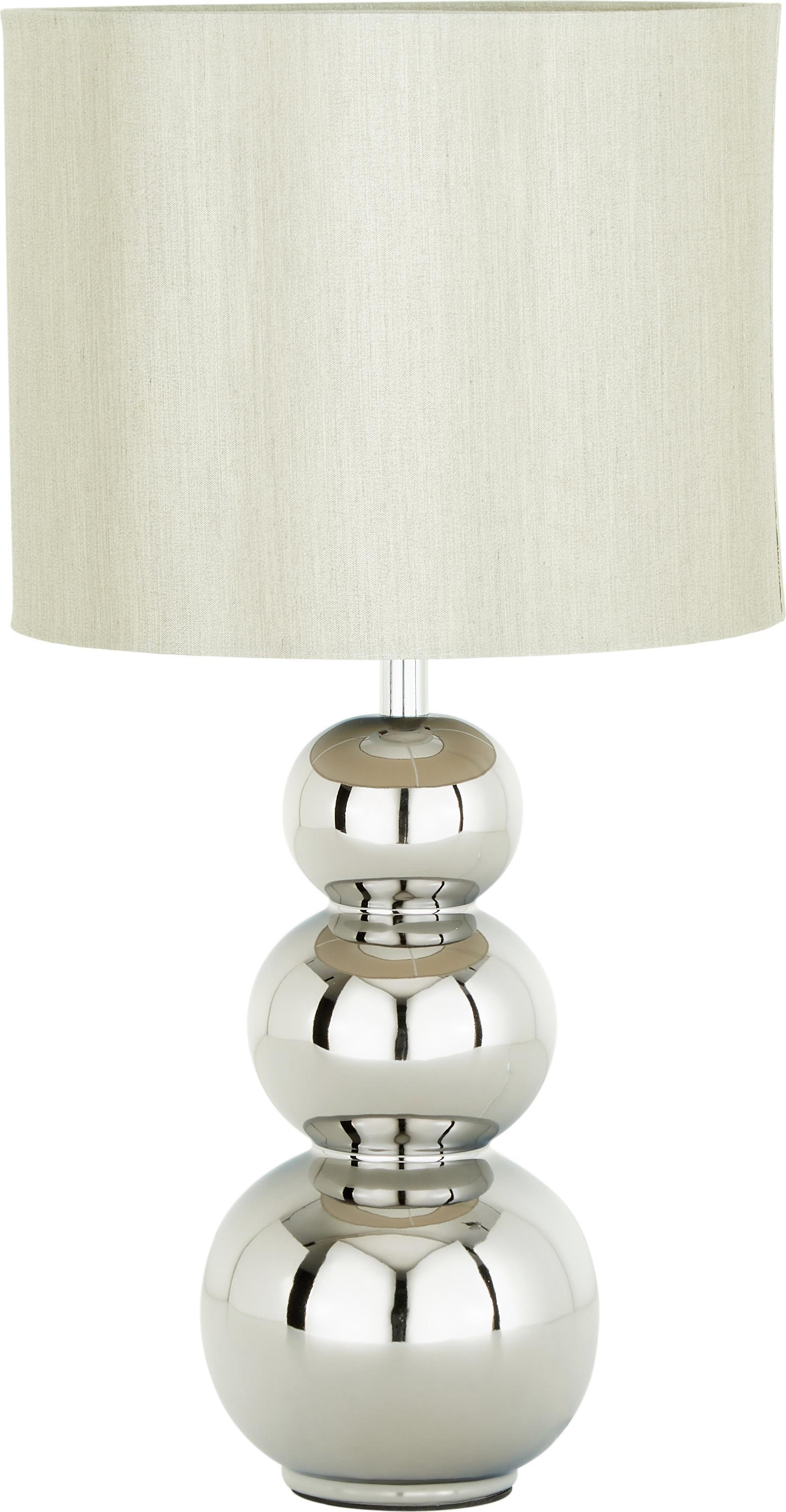 Tafellamp Regina, Lampenkap: textiel, Lampvoet: keramiek, Fitting: verchroomd metaal, Taupe, chroomkleurig, Ø 25 x H 49 cm