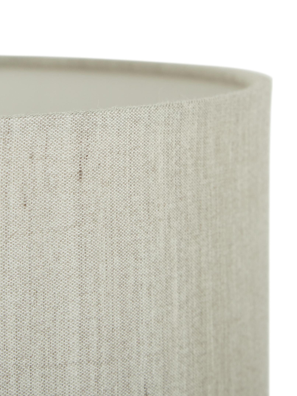 Keramik-Tischlampe Regina, Lampenschirm: Textil, Lampenfuß: Keramik, Taupe, Chrom, Ø 25 x H 49 cm