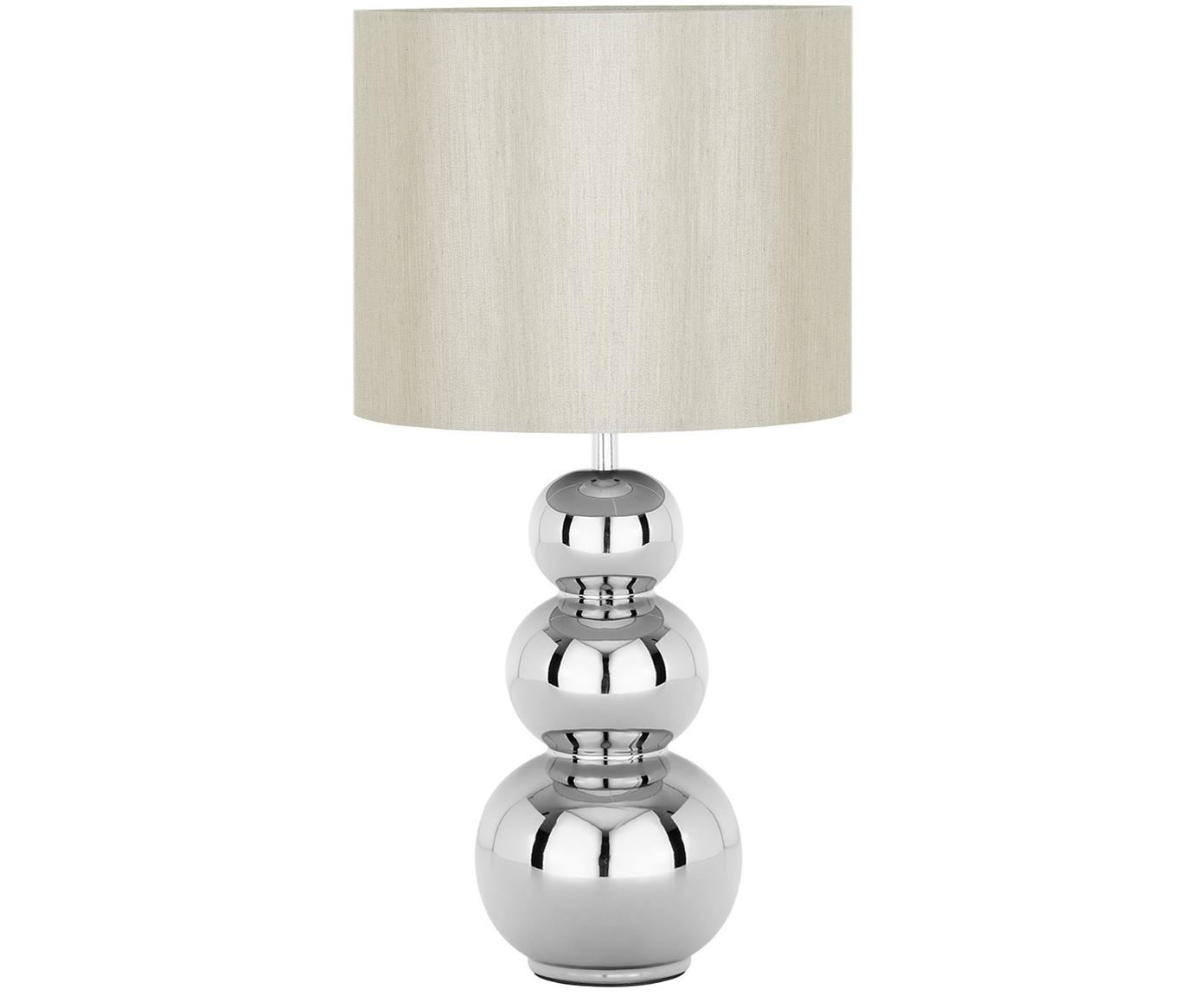 Keramik-Tischleuchte Regina, Lampenschirm: Textil, Lampenfuß: Keramik, Taupe, Chrom, Ø 25 x H 49 cm