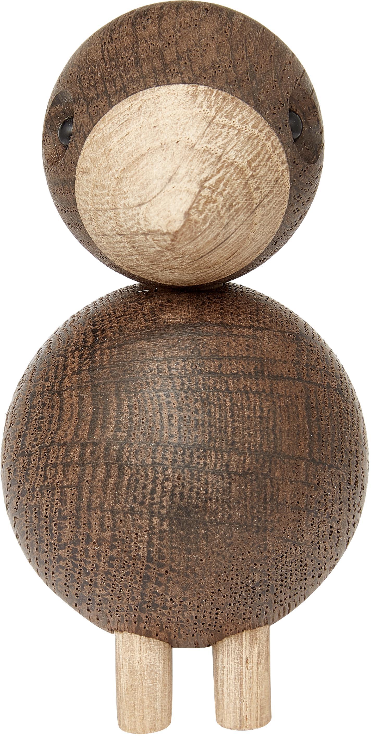 Set di 2 oggetti decorativi di design Lovebirds, Legno di quercia verniciato, Marrone chiaro, marrone scuro, Larg. 9 x Alt. 9 cm