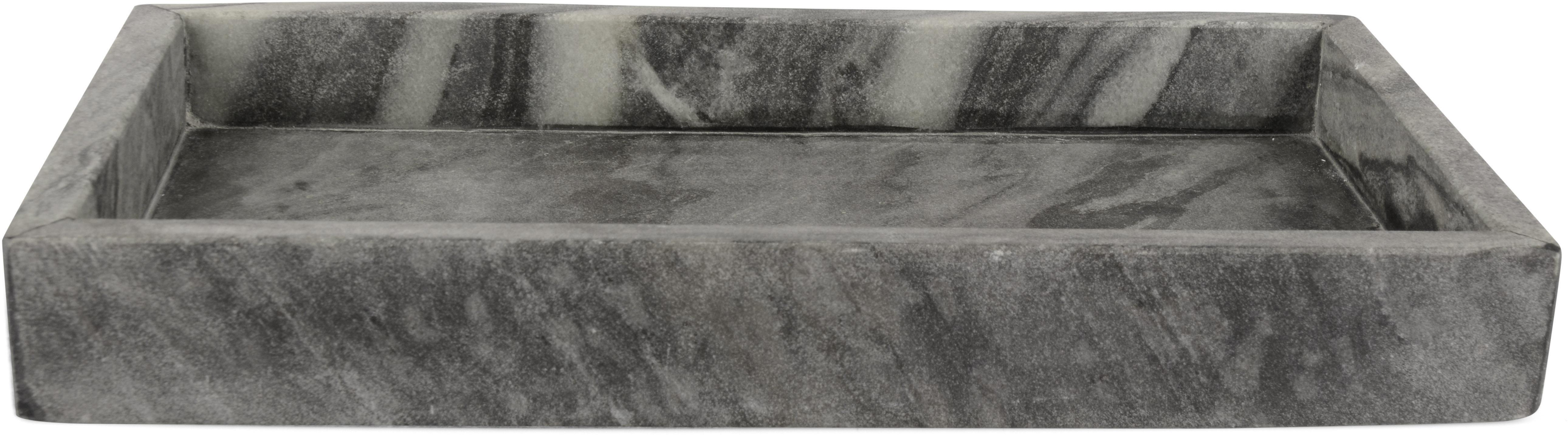 Vassoio decorativo in marmo Mera, Marmo, Grigio marmorizzato, Larg. 30 x Prof. 15 cm