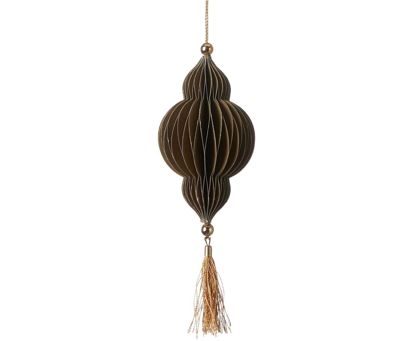 Baumanhänger Icilisse, 2 Stück, Dunkelgrün, Goldfarben, Ø 6 x H 17 cm