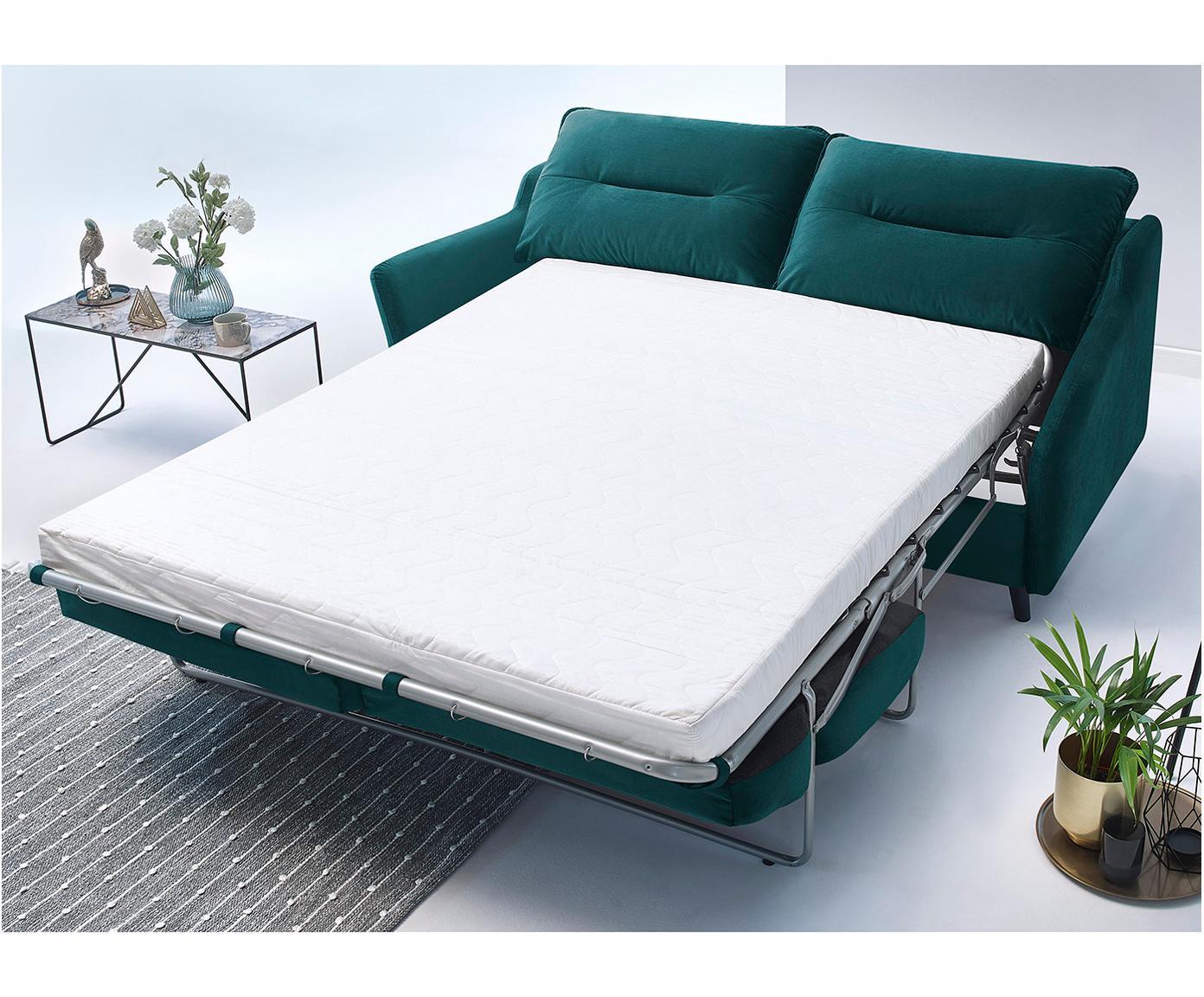 Sofa rozkładana z aksamitu Loft (3-osobowa), Tapicerka: 100% aksamit poliestrowy, Nogi: metal lakierowany, Szmaragdowy, S 191 x G 100 cm