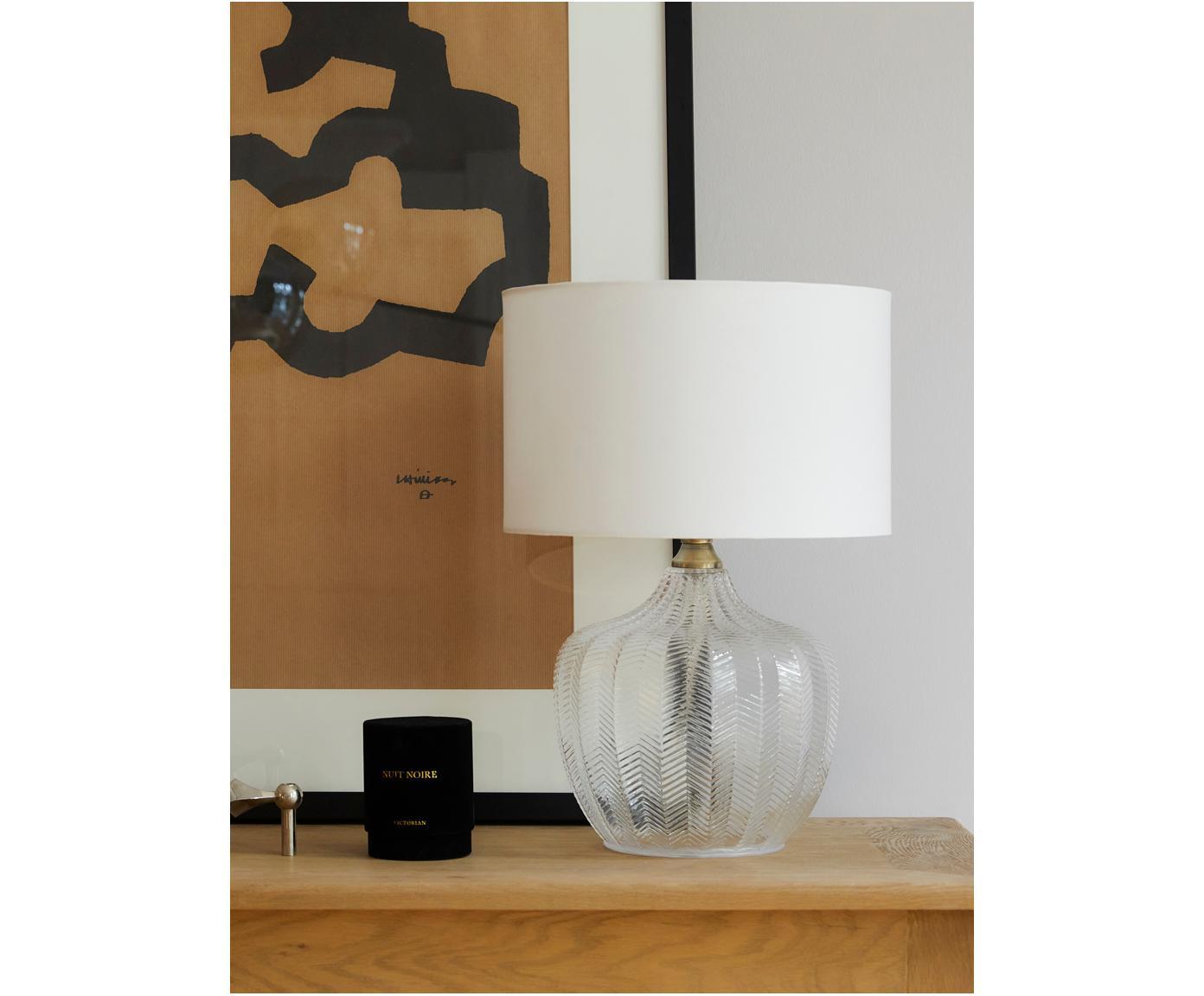 Lampada da tavolo Sue, Paralume: tessuto, Base della lampada: vetro, metallo ottonato, Paralume: bianco Base della lampada: trasparente, ottone spazzolato, Ø 33 x Alt. 47 cm