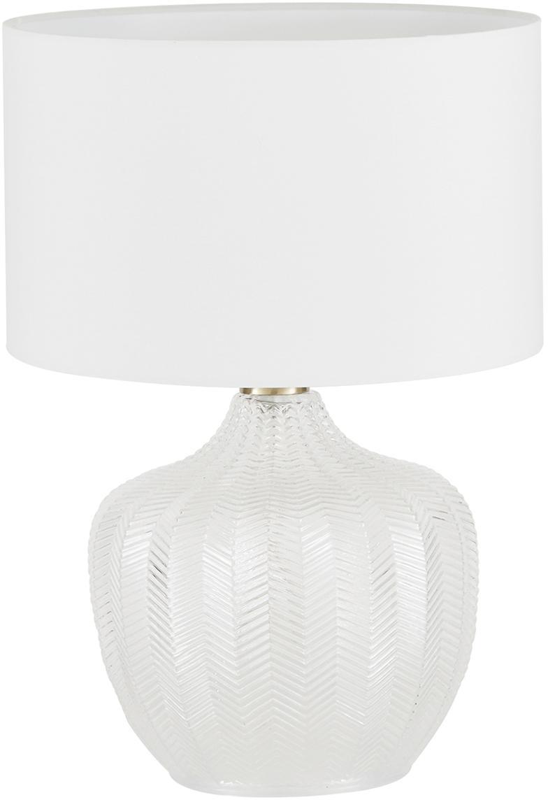 Tischlampe Sue mit Glasfuß, Lampenschirm: Textil, Lampenfuß: Glas, Lampenschirm: WeissLampenfuss: Transparent, Messing, gebürstet, Ø 33 x H 47 cm