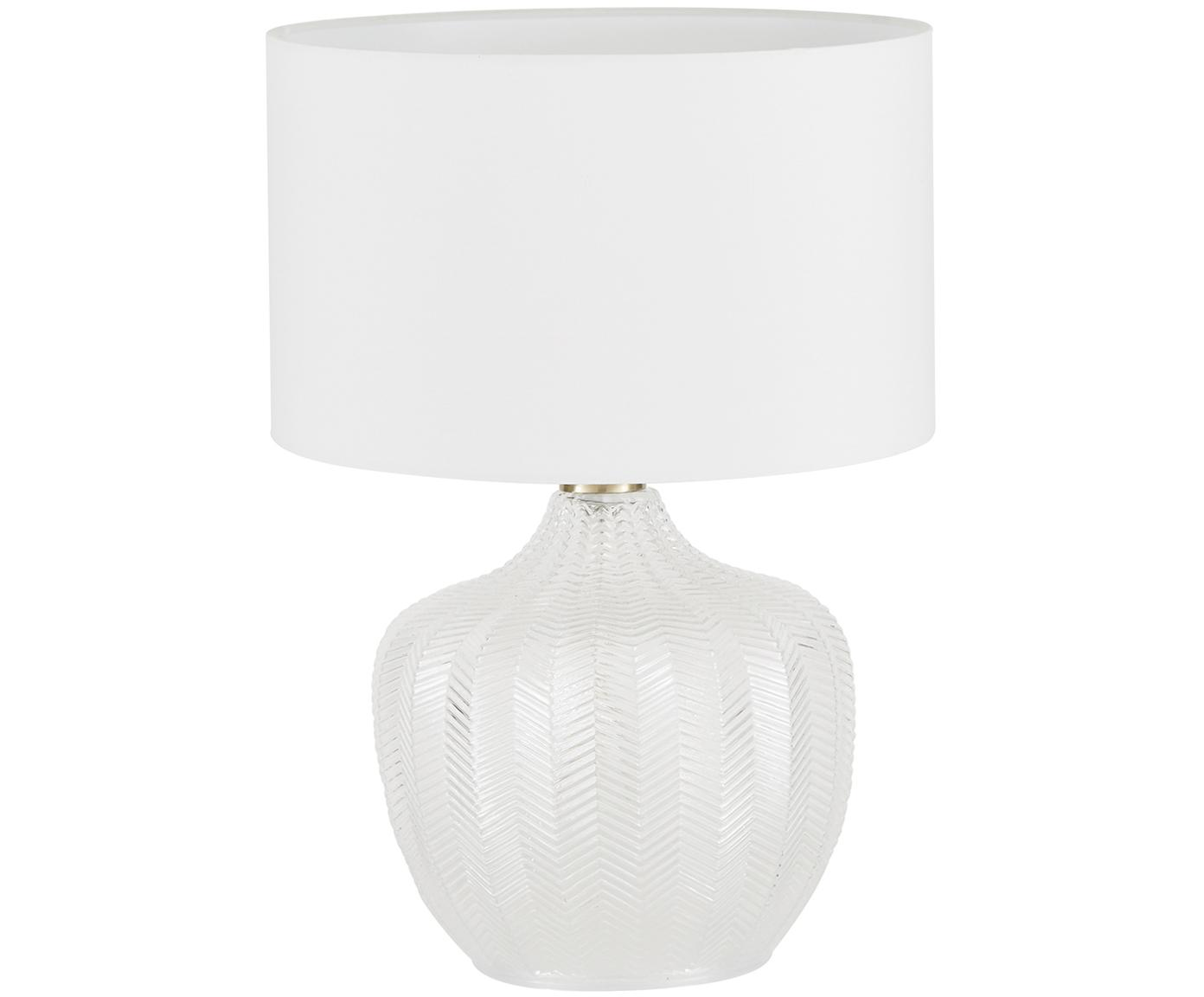 Tafellamp Sue, Lampenkap: textiel, Lampvoet: glas, vermessingd metaal, Lampenkap: wit lampvoet: transparant, geborsteld messing, Ø 33 x H 47 cm