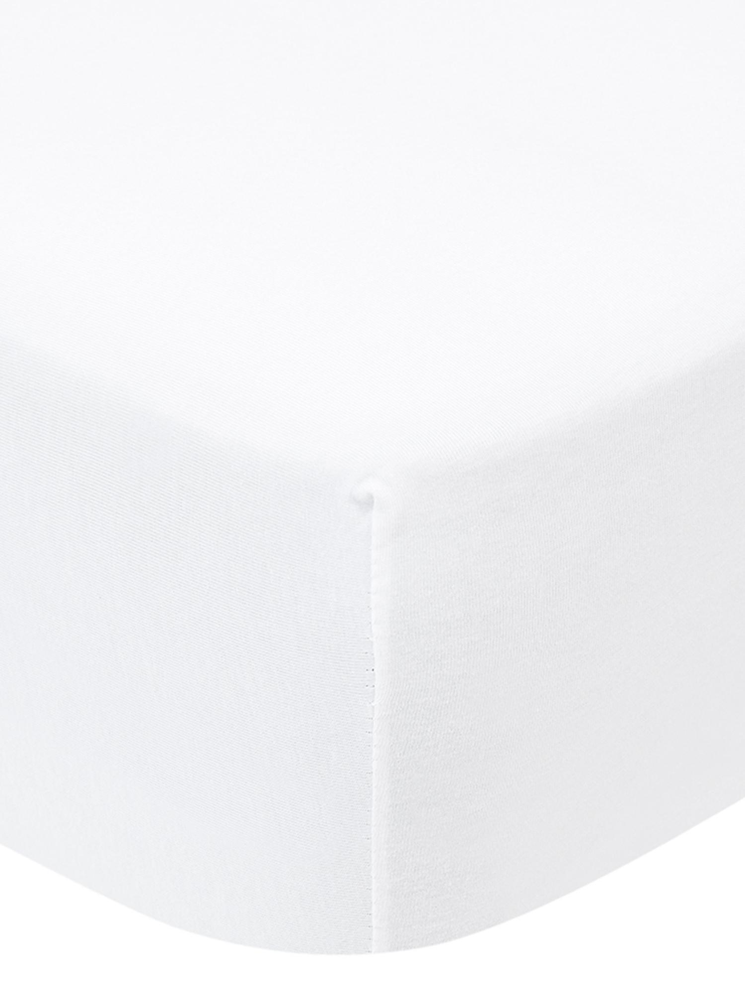 Prześcieradło z gumką na topper z jerseyu Lara, 95% bawełna, 5% elastan, Biały, S 200 x D 200 cm