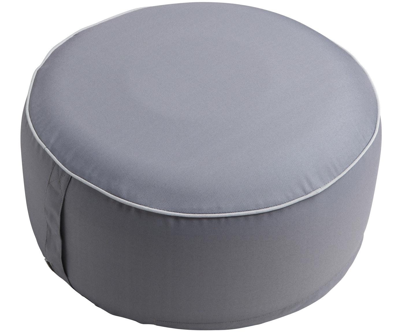 Puf de exterior Maxime, Funda: poliéster, resistente a l, Gris oscuro, blanco, Ø 55 x Al 25 cm