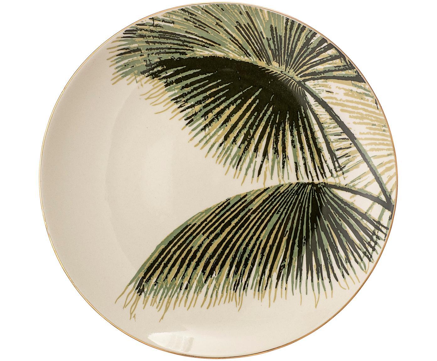 Platos postre Aruba, 4uds., Gres, Blanco crema, verde, Ø 20 cm