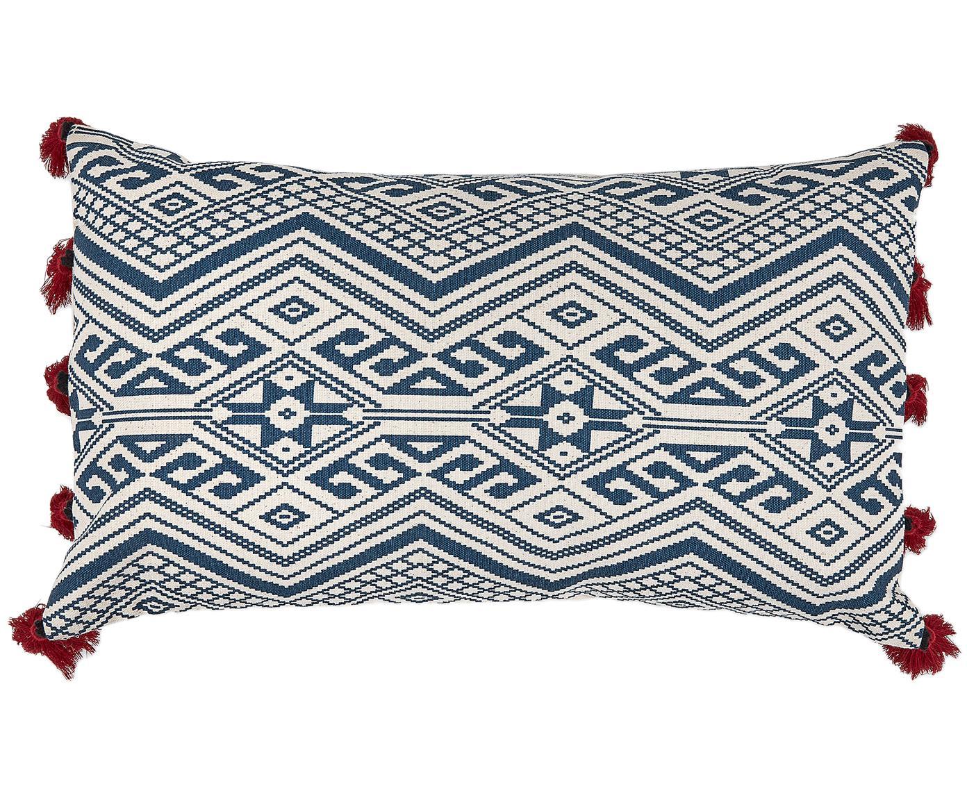 Kussenhoes Cerys, Katoen, Blauw, rood, crèmekleurig, 30 x 50 cm