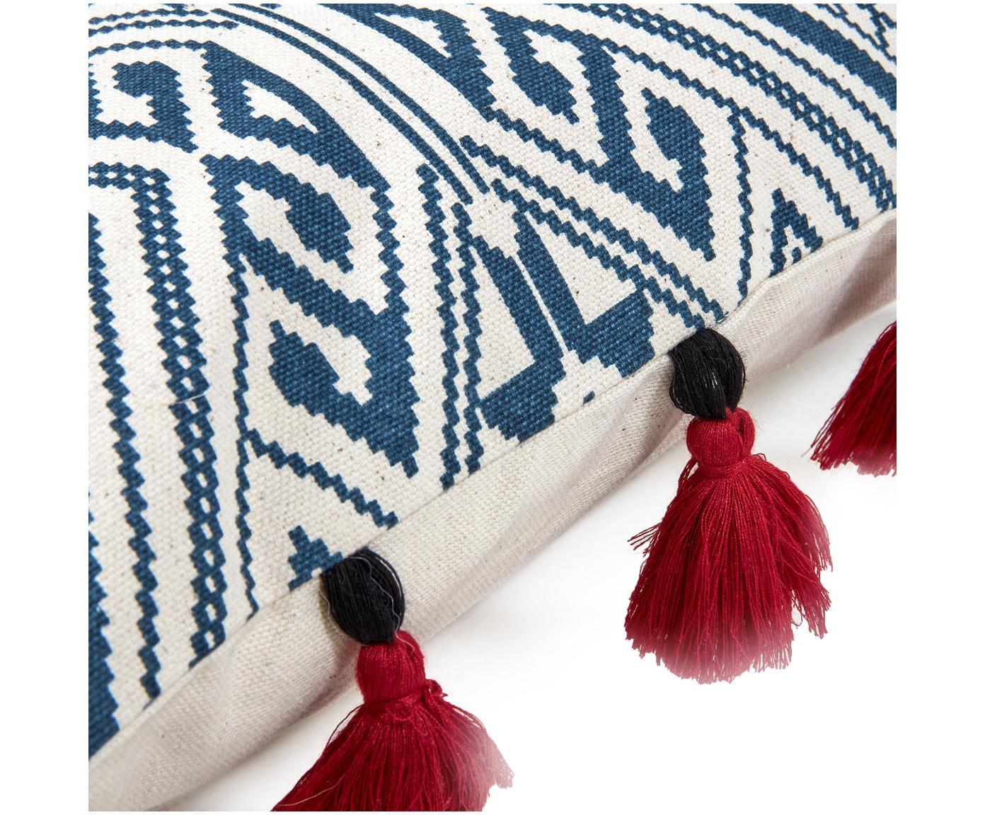 Dwustronna poszewka na poduszkę Cerys, Bawełna, Niebieski, czerwony, kremowy, S 30 x D 50 cm