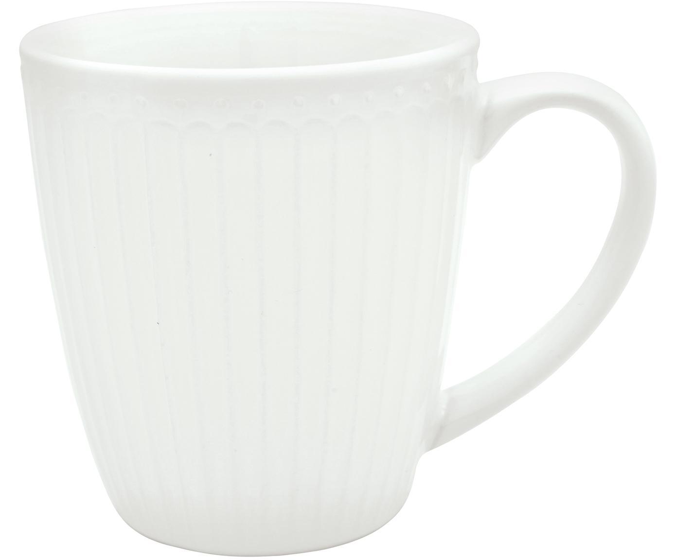 Handgefertigte Tassen Alice in Weiß mit Reliefdesign, 2 Stück, Steingut, Weiß, Ø 10 x H 10 cm