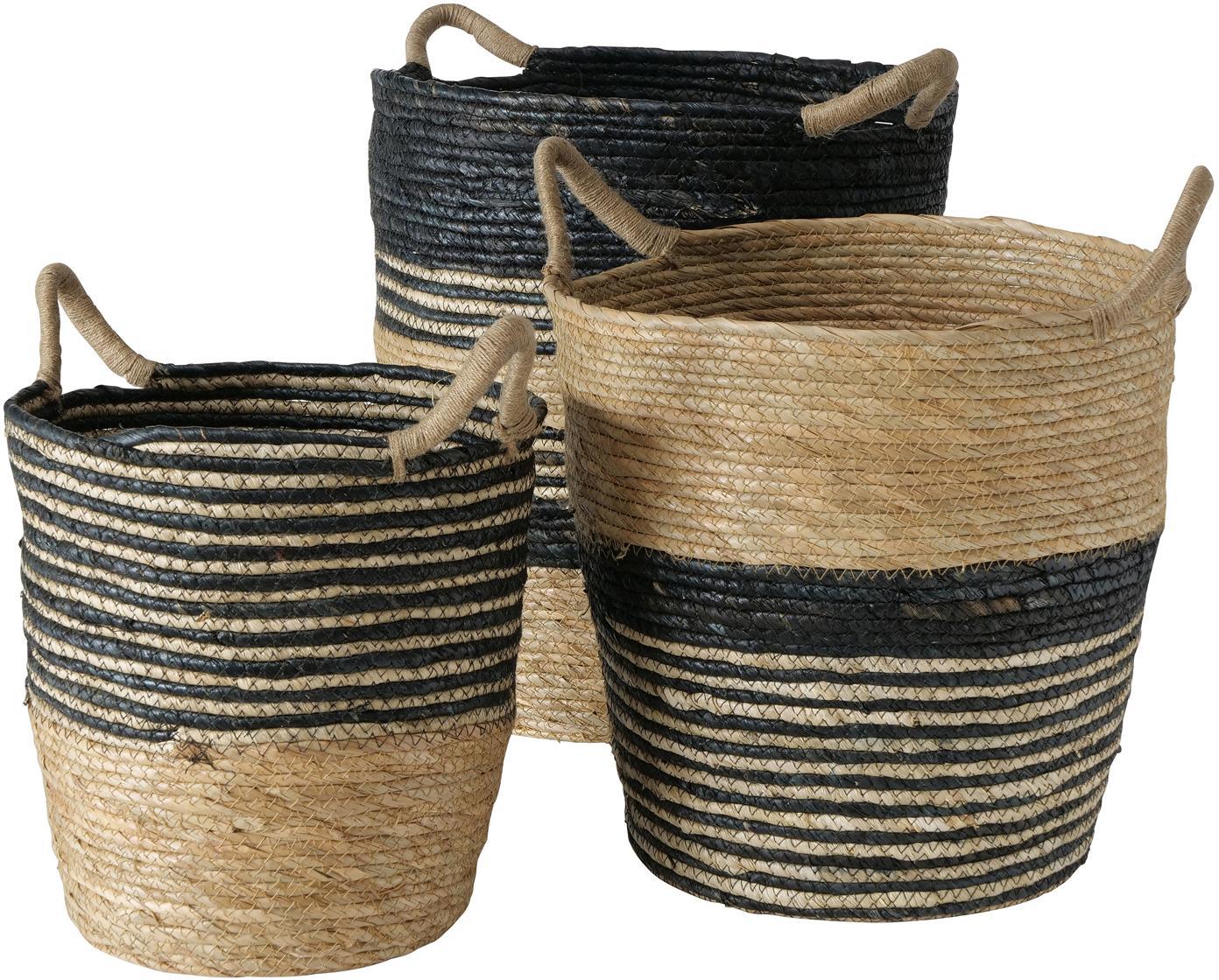 Set 3 ceste fatte a mano Ryka, Fibre di alberi d'erba, Nero, beige, Set in varie misure