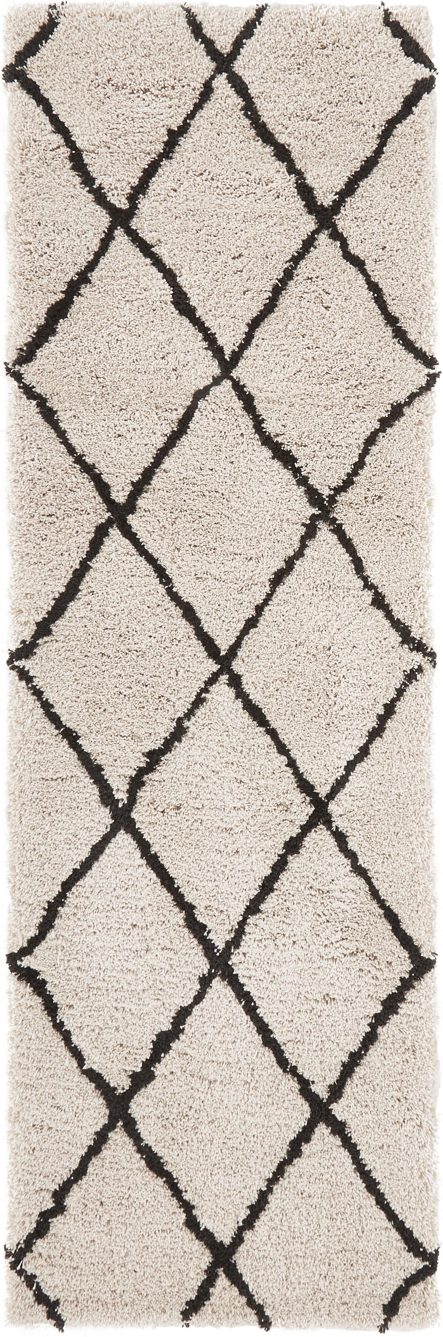 Handgetufte loper Naima, Bovenzijde: 100% polyester, Onderzijde: 100% katoen, Beige, zwart, 80 x 250 cm