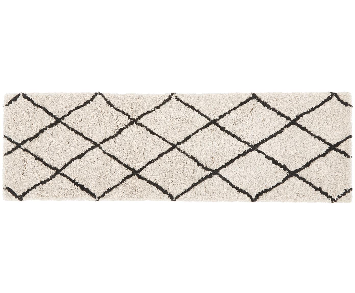 Puszysty ręcznie tuftowany chodnik z wysokim stosem Naima, Beżowy, czarny, S 80 x D 250 cm