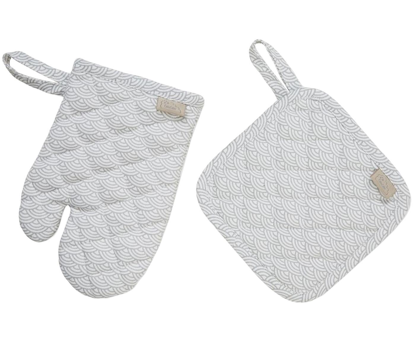 Set 2 guanti da forno in cotone organico Cook, Rivestimento: bio cotone, certificato O, Grigio, bianco, Larg. 16 x Lung. 16 cm