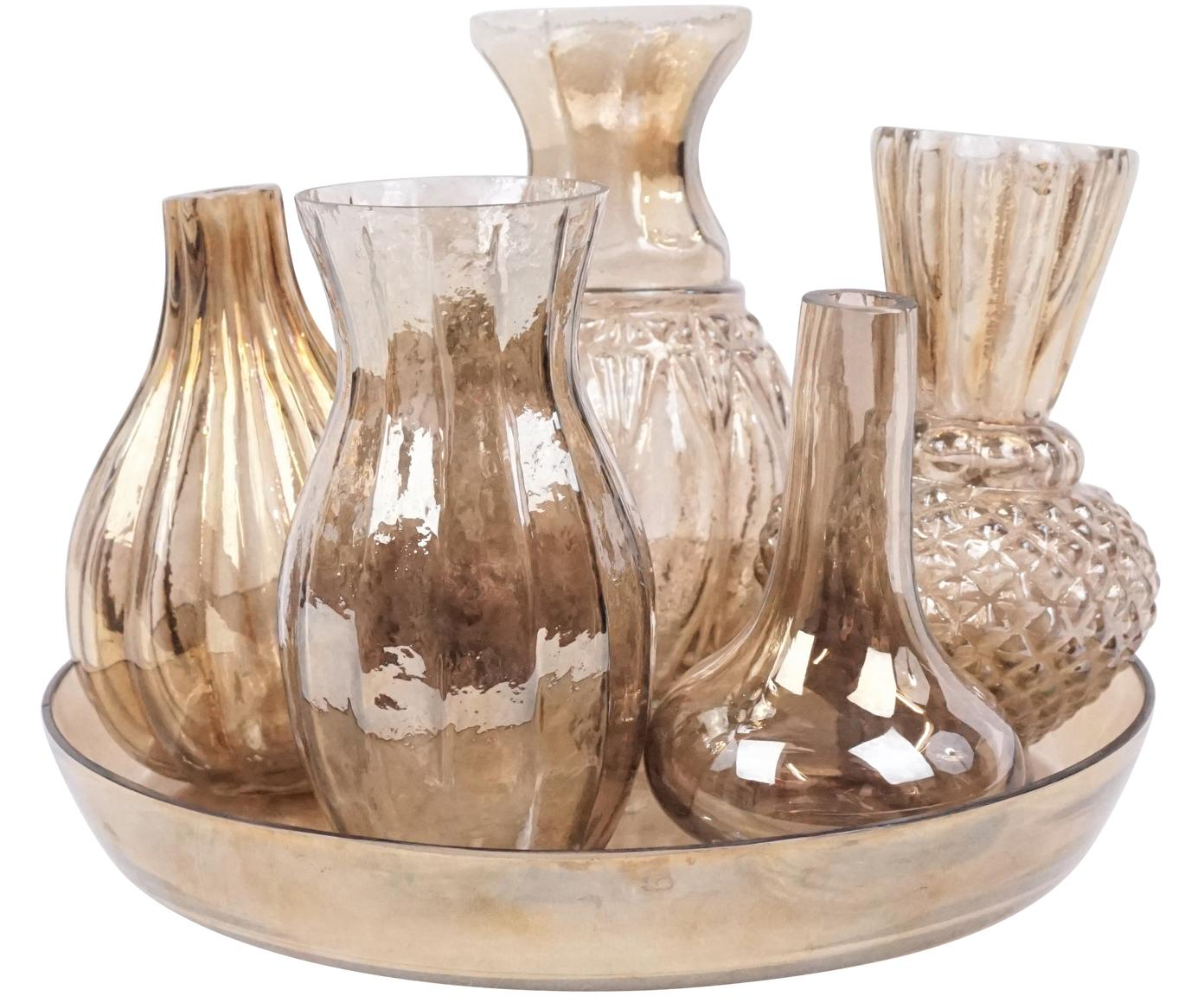 Set de jarrones de vidrio Poesie, 6pzas., Vidrio, Dorado, Set de diferentes tamaños