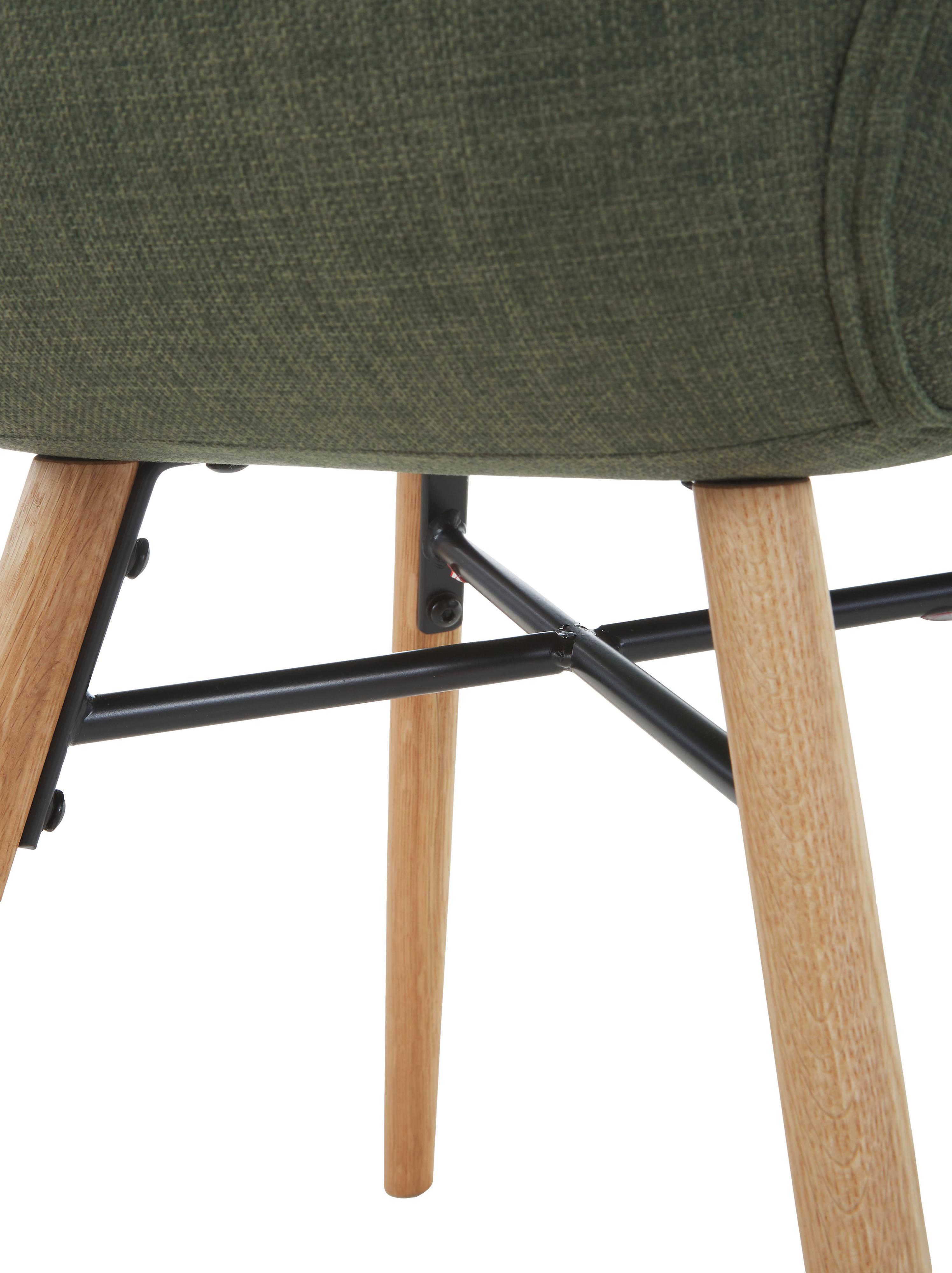 Polsterstühle Batilda im Skandi Design, 2 Stück, Bezug: Polyester 25.000 Scheuert, Beine: Eichenholz, massiv, klarl, Webstoff Grün, B 56 x T 47 cm