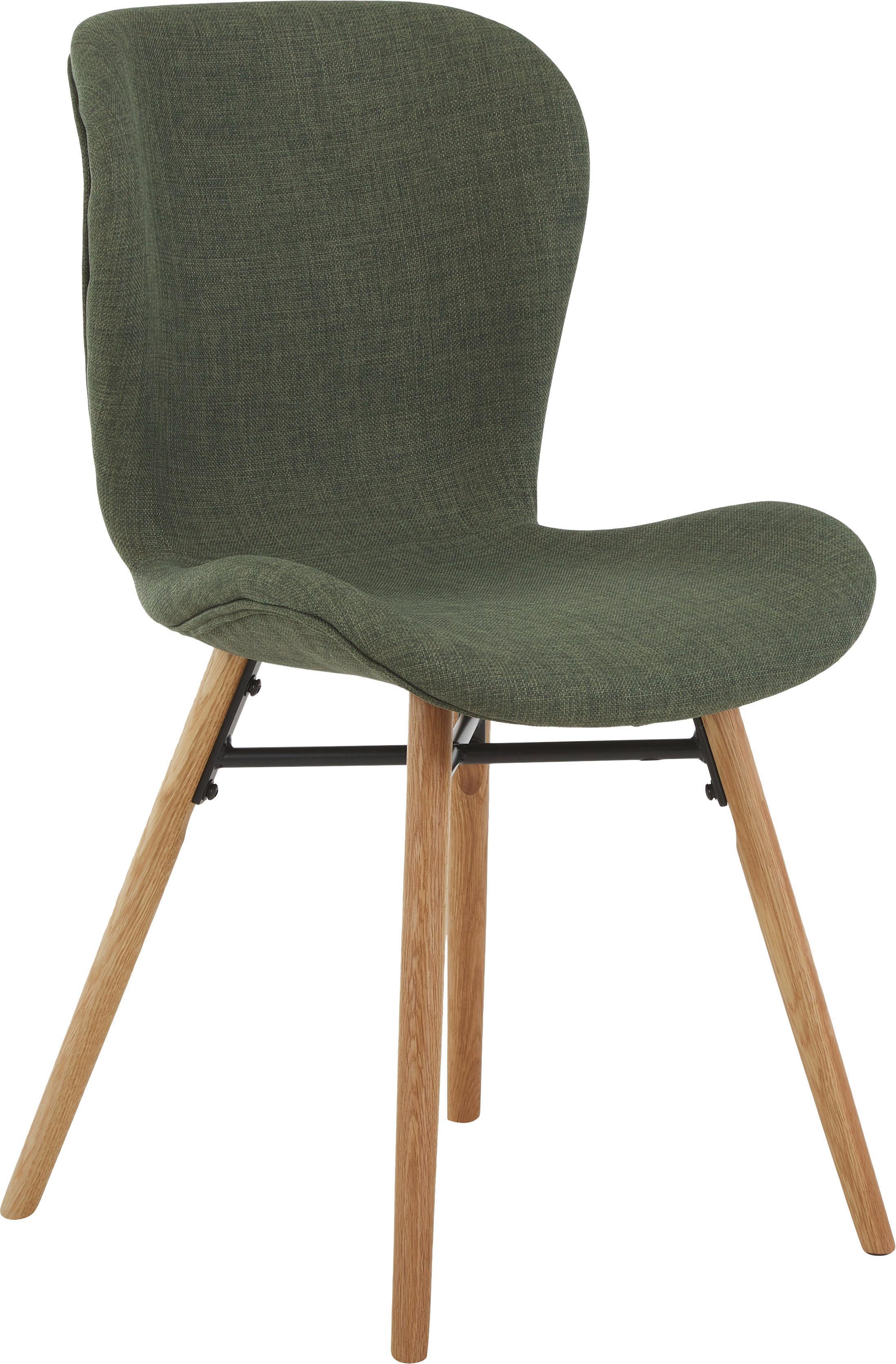 Krzesło tapicerowane Batilda, 2 szt., Tapicerka: poliester 25000 cykli w , Nogi: drewno dębowe, lite, laki, Zielony, S 56 x W 83 cm