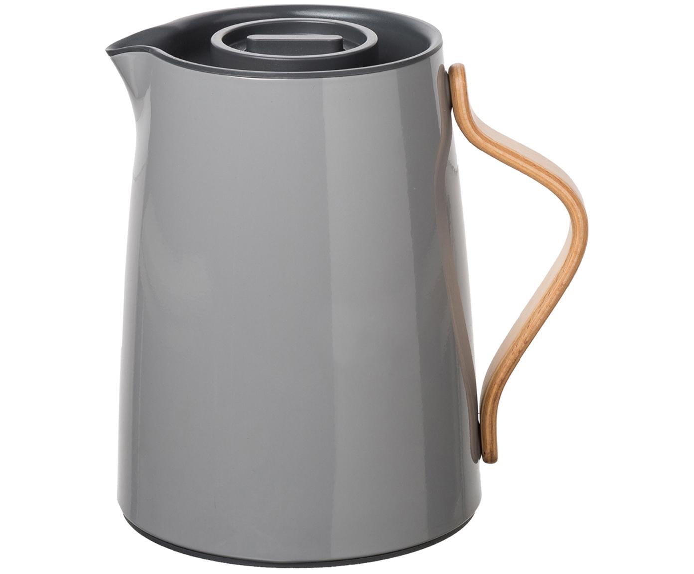 Teiera in grigio lucido Emma, Teiera: acciaio, Rivestimento: smalto, Manico: legno di faggio, Grigio, 1 l