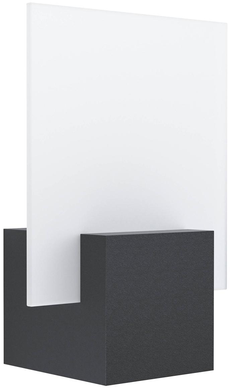 LED Außenwandleuchte Adamello, Lampenschirm: Glas, satiniert, Schwarz, Weiß, 20 x 28 cm